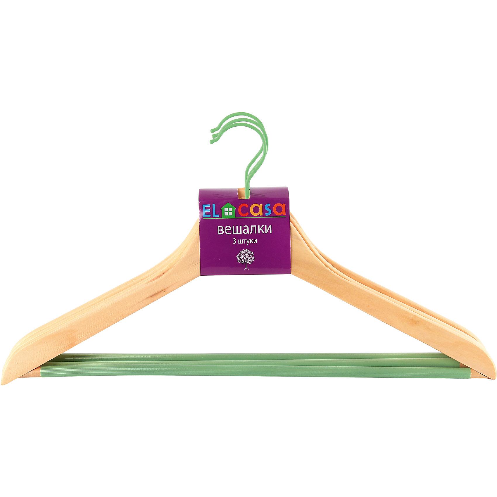 Вешалки 3 шт. 44,5*1,2*23 см. Дуб, зеленый, EL CasaПредметы интерьера<br>Набор из трех  вешалок из прочной натуральной древесины  снескользящей накладкой на перекладине, которая предотвращает соскальзывание одежды. Выдерживает нагрузку до 7 кг.<br><br>Ширина мм: 445<br>Глубина мм: 35<br>Высота мм: 230<br>Вес г: 400<br>Возраст от месяцев: 0<br>Возраст до месяцев: 1188<br>Пол: Унисекс<br>Возраст: Детский<br>SKU: 6668636