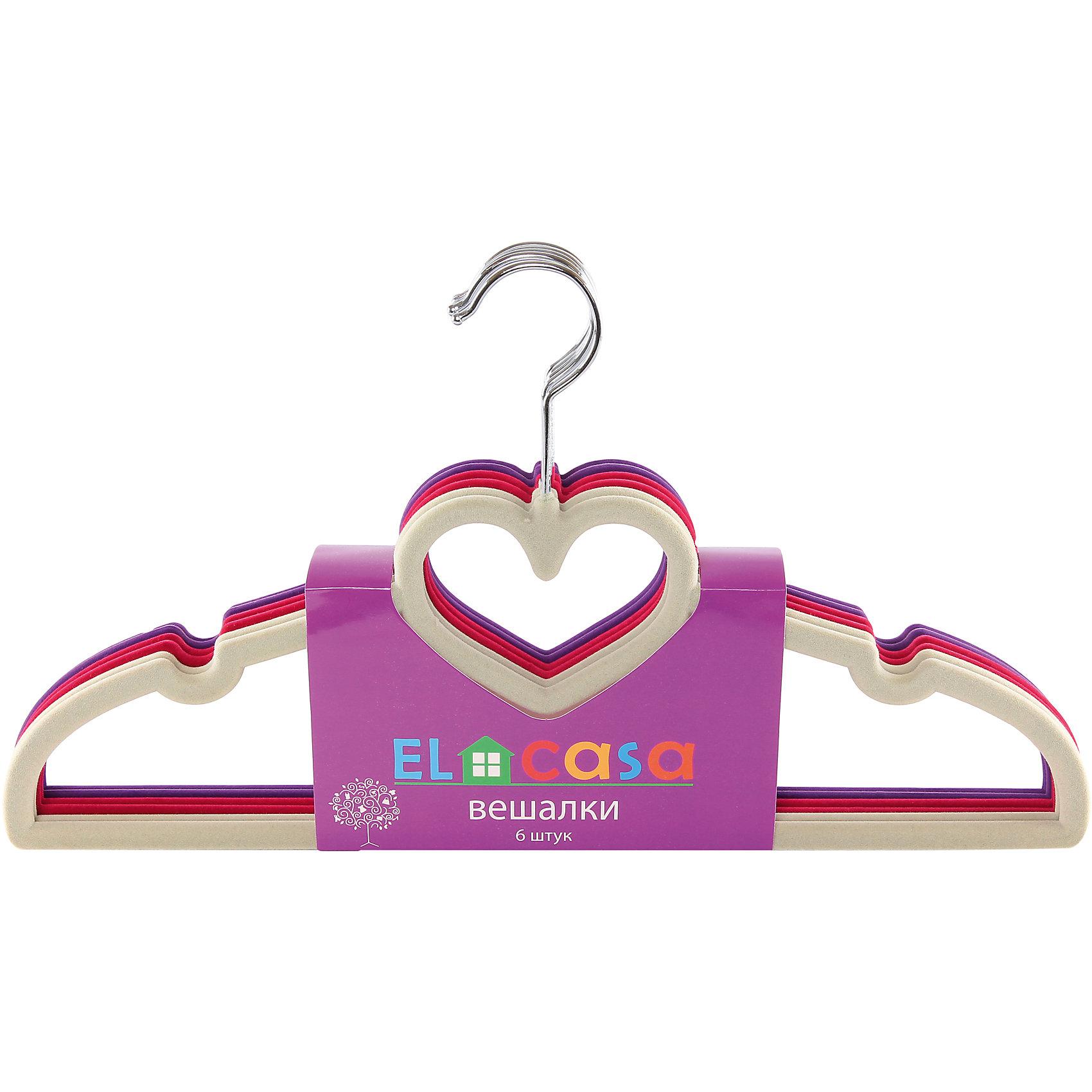 Вешалки 6 шт. 40*0,5*22 см. сердце, бежевый/бордовый/фиолетовый, EL CasaПредметы интерьера<br>Набор  разноцветных вешалок из пластика, имеющих велюровое антискользящее покрытие.  Подходят для универсального использования благодаря перекладине и двум крючкам  для юбок, а также для изделий из деликатных тканей.<br><br>Ширина мм: 400<br>Глубина мм: 35<br>Высота мм: 220<br>Вес г: 380<br>Возраст от месяцев: 0<br>Возраст до месяцев: 1188<br>Пол: Унисекс<br>Возраст: Детский<br>SKU: 6668638
