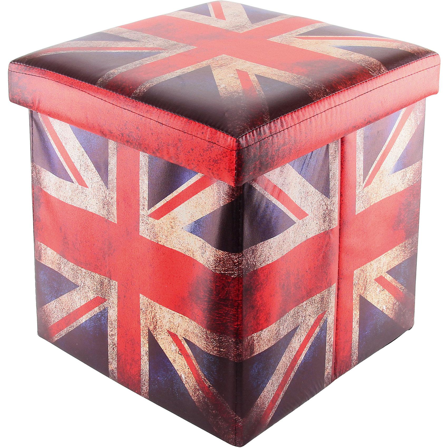 Пуф складной с ящиком для хранения 35*35*35 см. Британский флаг, EL CasaПорядок в детской<br>Пуф, выполненный в популярном стиле Британский флаг понравится всем ценителям  оригинальных вещей . Благодаря удобной конструкции складывается и раскладывается одним движением. Его легко хранить и перевозить.<br><br>Ширина мм: 350<br>Глубина мм: 350<br>Высота мм: 50<br>Вес г: 1250<br>Возраст от месяцев: 0<br>Возраст до месяцев: 1188<br>Пол: Унисекс<br>Возраст: Детский<br>SKU: 6668674