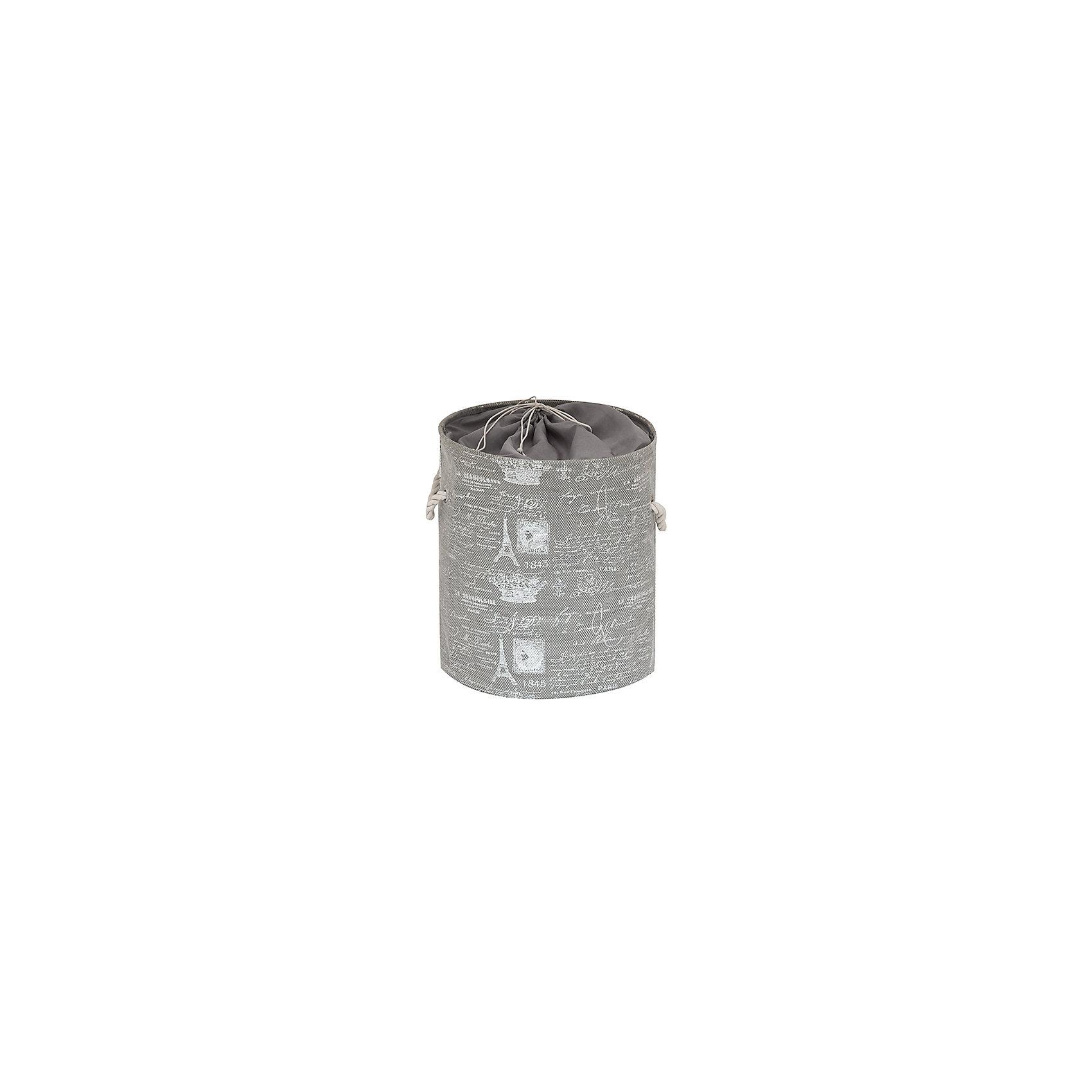 Кофр складной для хранения 38*38*45 см. Париж серебро, EL CasaПорядок в детской<br>Кофр складной мягкий для хранения имеет форму цилиндра. Не имеет жестких вставок, при этом держит форму и имеет эстетичный вид. Легко слкадывается и раскладывается, подходит для размещения в шкафу. Кофр имеет ручки для удобства -  в виде канатов. Тканевая крышка имеет затягивающиеся завязки для защиты от пыли и солнечных лучей.<br><br>Ширина мм: 380<br>Глубина мм: 380<br>Высота мм: 70<br>Вес г: 500<br>Возраст от месяцев: 0<br>Возраст до месяцев: 1188<br>Пол: Унисекс<br>Возраст: Детский<br>SKU: 6668722