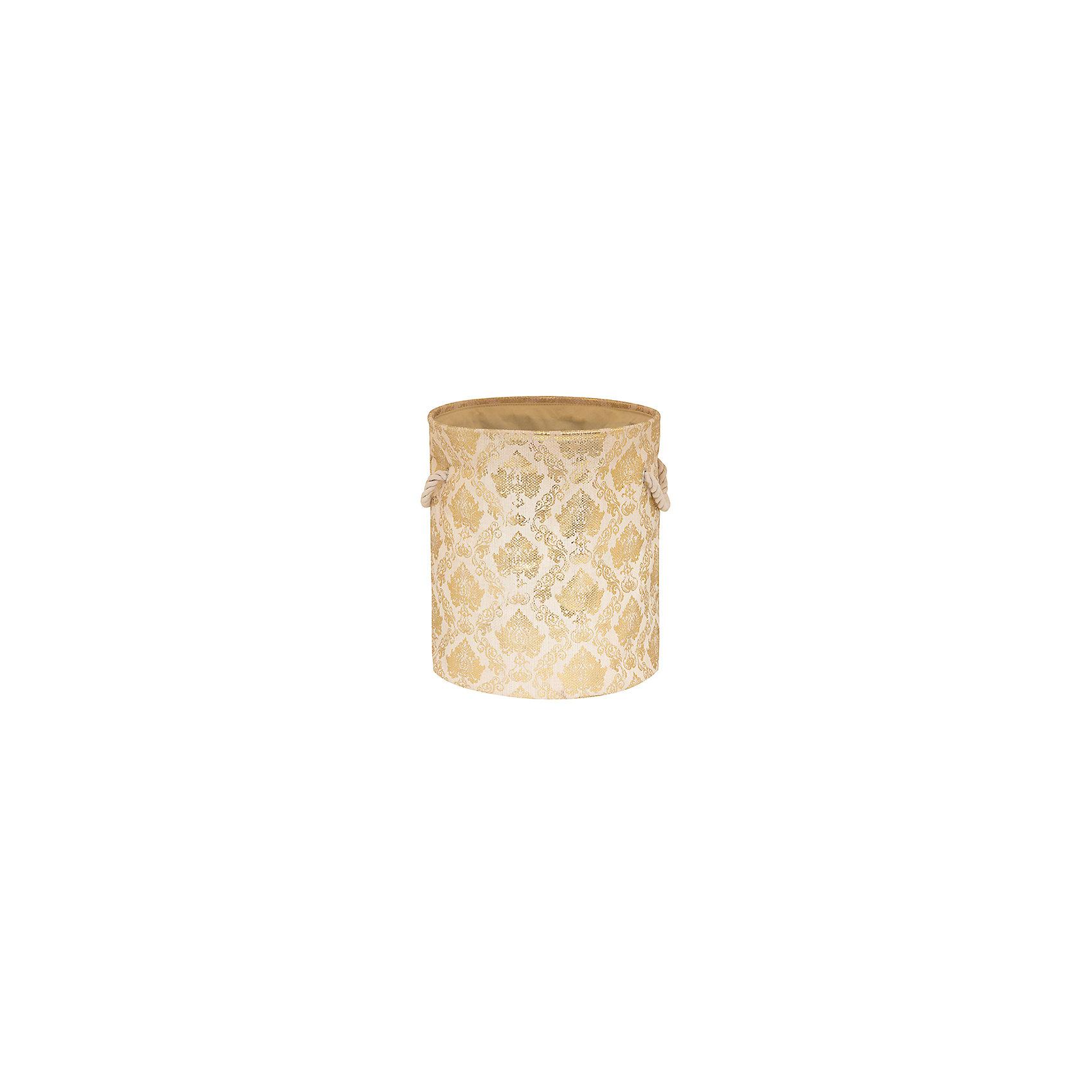 Кофр складной для хранения 34*34*40 см. Золотой узор, EL CasaПорядок в детской<br>Кофр складной мягкий для хранения имеет форму цилиндра. Не имеет жестких вставок, при этом держит форму и имеет эстетичный вид. Легко слкадывается и раскладывается, подходит для размещения в шкафу.<br><br>Ширина мм: 340<br>Глубина мм: 340<br>Высота мм: 70<br>Вес г: 417<br>Возраст от месяцев: 0<br>Возраст до месяцев: 1188<br>Пол: Унисекс<br>Возраст: Детский<br>SKU: 6668723