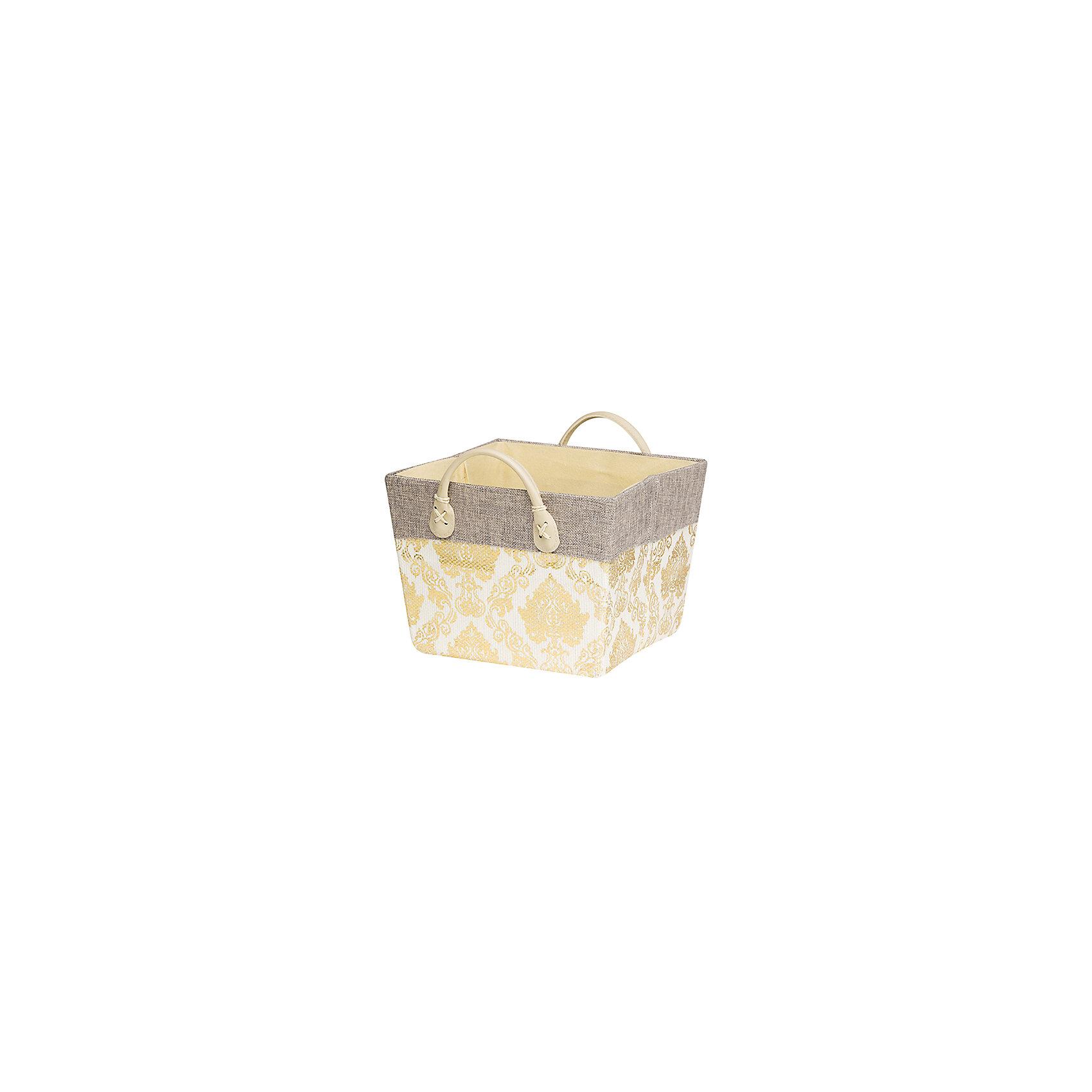 Кофр складной для хранения 24*24*18 см. Золотой узор, EL CasaПорядок в детской<br>Кофр  с жестким каркасом для хранения. Благодаря  специальным вставкам  кофр прекрасно держит форму, а эстетичный дизайн гармонично смотрится в любом интерьере. Легко складывается и раскладывается, имеет ручки для удобства.<br><br>Ширина мм: 260<br>Глубина мм: 240<br>Высота мм: 37<br>Вес г: 430<br>Возраст от месяцев: 0<br>Возраст до месяцев: 1188<br>Пол: Унисекс<br>Возраст: Детский<br>SKU: 6668730