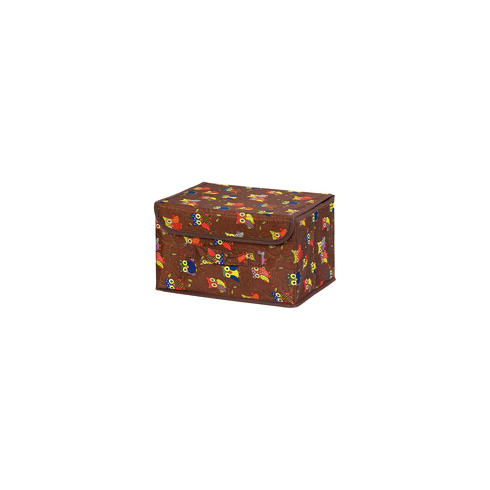 Кофр складной для хранения 26*20*16 см. Совы на ветках на коричневом, EL CasaПорядок в детской<br>Кофр  с жестким каркасом для хранения. Благодаря  специальным вставкам, кофр прекрасно держит форму, а эстетичный дизайн гармонично смотрится в любом интерьере. В нем можно хранить всевозможные предметы: книги, игрушки, рукоделие. Для удобства крышка и ручка.<br><br>Ширина мм: 270<br>Глубина мм: 210<br>Высота мм: 27<br>Вес г: 400<br>Возраст от месяцев: 0<br>Возраст до месяцев: 1188<br>Пол: Унисекс<br>Возраст: Детский<br>SKU: 6668733