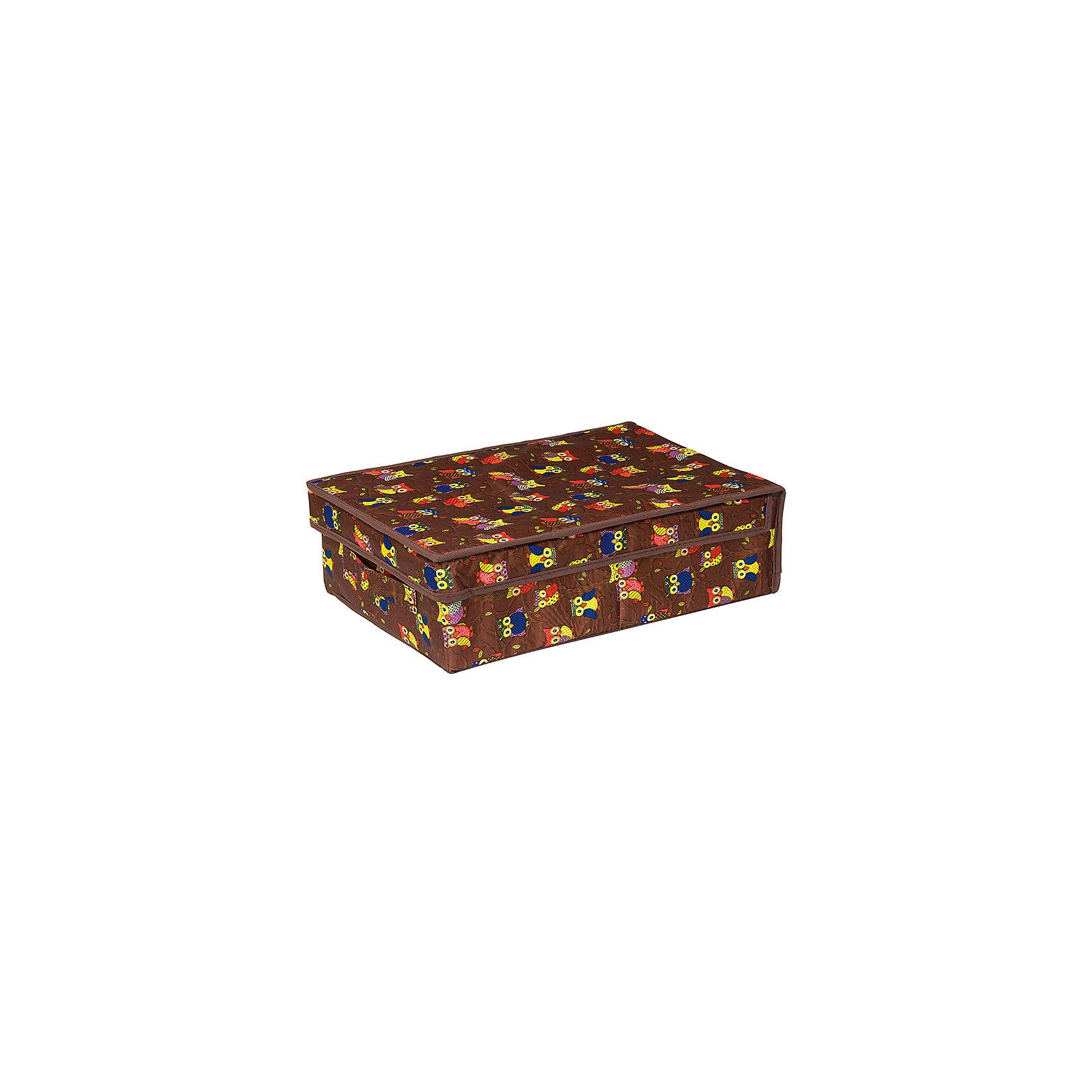 Кофр складной для хранения 27*41*12 см. Совы на ветках на коричневом, EL CasaПорядок в детской<br>Кофр  с жестким каркасом для хранения. Благодаря  специальным вставкам, кофр прекрасно держит форму, а эстетичный дизайн гармонично смотрится в любом интерьере.<br><br>Ширина мм: 415<br>Глубина мм: 270<br>Высота мм: 20<br>Вес г: 613<br>Возраст от месяцев: 0<br>Возраст до месяцев: 1188<br>Пол: Унисекс<br>Возраст: Детский<br>SKU: 6668746