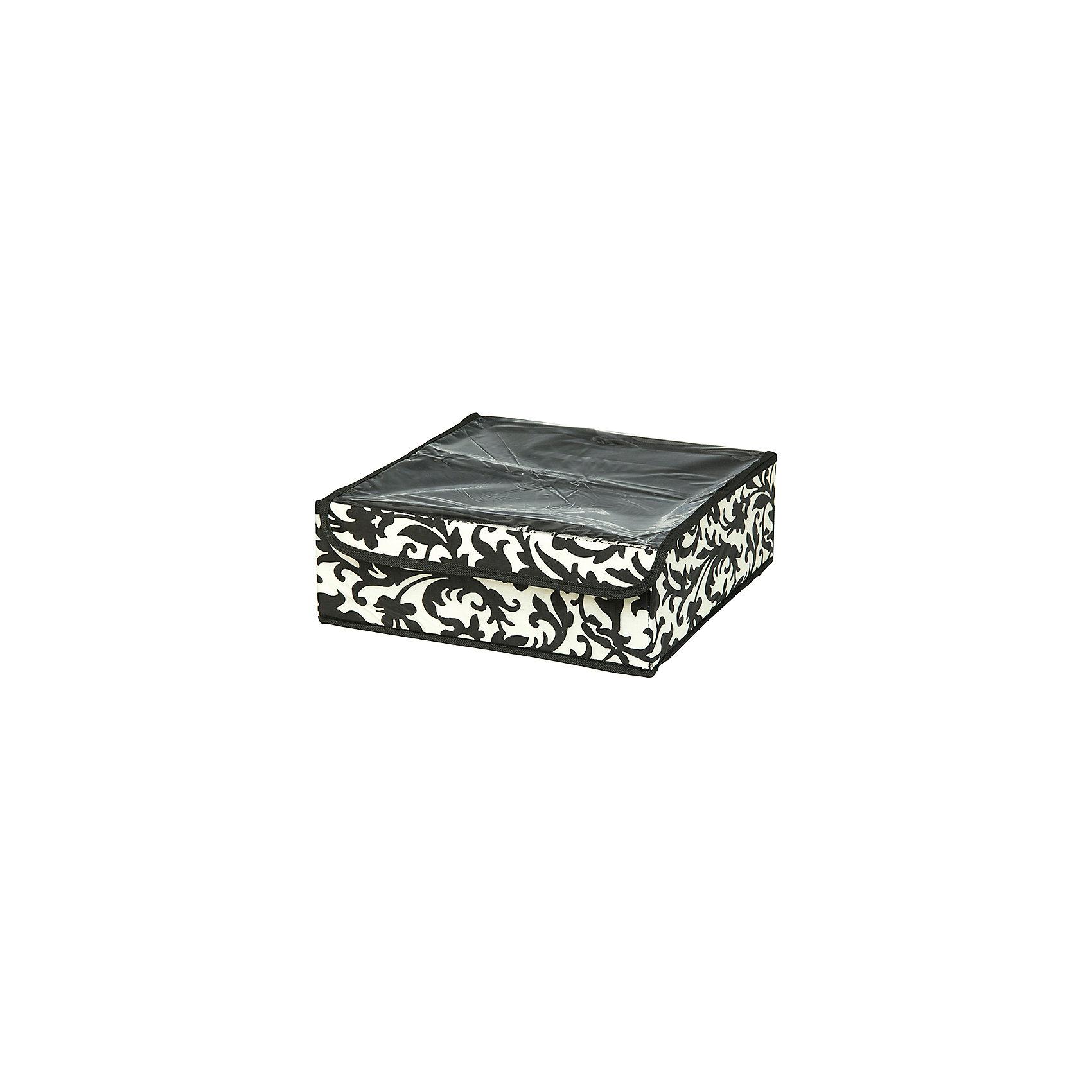 Кофр для нижнего белья и носков 32*32*12 см. Узор на серебре, 12 секций, EL CasaПорядок в детской<br>Характеристики товара:<br><br>• цвет: мульти<br>• материал: текстиль (полиэстер 100%)<br>• размер: 32 х 32 х 12 см<br>• вес: 300 г<br>• декорирован принтом<br>• прозрачная крышка<br>• защита от пыли<br>• естественная вентиляция<br>• 12 отделений<br>• удобный<br>• универсальный размер<br>• страна бренда: Российская Федерация<br>• страна производства: Китай<br><br>Такой кофр - отличный пример удобной и функциональной вещи для любого интерьера. В нем удобной хранить различные мелочи, например, нижнее белье и носки.<br><br>Кофр с жёстким каркасом для хранения может стать отличным приобретением для дома или подарком для любителей красивых оригинальных вещей.<br><br>Бренд EL Casa - это красивые и практичные товары для дома с современным дизайном. Они добавляют в жильё уюта и комфорта! <br><br>Кофр для нижнего белья и носков 32*32*12 см. Узор на серебре, 12 секций, EL Casa можно купить в нашем интернет-магазине.<br><br>Ширина мм: 330<br>Глубина мм: 125<br>Высота мм: 15<br>Вес г: 302<br>Возраст от месяцев: 0<br>Возраст до месяцев: 1188<br>Пол: Унисекс<br>Возраст: Детский<br>SKU: 6668760