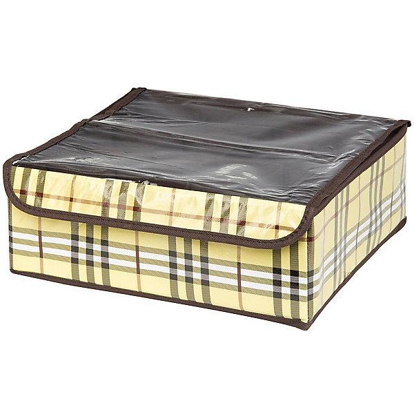 Кофр для нижнего белья и носков 32*32*12 см. Шотландка, 12 секций, EL CasaОрганайзеры для одежды<br>Характеристики товара:<br><br>• цвет: мульти<br>• материал: текстиль (полиэстер 100%)<br>• размер: 32 х 32 х 12 см<br>• вес: 300 г<br>• декорирован принтом<br>• прозрачная крышка<br>• защита от пыли<br>• естественная вентиляция<br>• 12 отделений<br>• удобный<br>• универсальный размер<br>• страна бренда: Российская Федерация<br>• страна производства: Китай<br><br>Такой кофр - отличный пример удобной и функциональной вещи для любого интерьера. В нем удобной хранить различные мелочи, например, нижнее белье и носки.<br><br>Кофр с жёстким каркасом для хранения может стать отличным приобретением для дома или подарком для любителей красивых оригинальных вещей.<br><br>Бренд EL Casa - это красивые и практичные товары для дома с современным дизайном. Они добавляют в жильё уюта и комфорта! <br><br>Кофр для нижнего белья и носков 32*32*12 см. Шотландка, 12 секций, EL Casa можно купить в нашем интернет-магазине.<br>Ширина мм: 330; Глубина мм: 125; Высота мм: 15; Вес г: 283; Возраст от месяцев: 0; Возраст до месяцев: 1188; Пол: Унисекс; Возраст: Детский; SKU: 6668764;