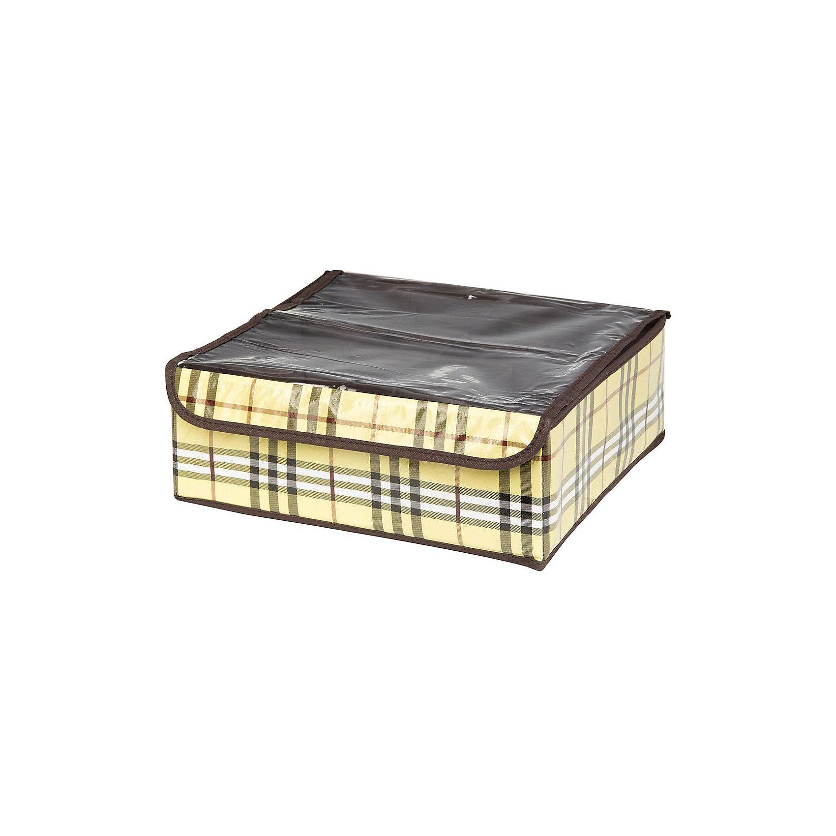 Кофр для нижнего белья и носков 32*32*12 см. Шотландка, 12 секций, EL CasaПорядок в детской<br>Характеристики товара:<br><br>• цвет: мульти<br>• материал: текстиль (полиэстер 100%)<br>• размер: 32 х 32 х 12 см<br>• вес: 300 г<br>• декорирован принтом<br>• прозрачная крышка<br>• защита от пыли<br>• естественная вентиляция<br>• 12 отделений<br>• удобный<br>• универсальный размер<br>• страна бренда: Российская Федерация<br>• страна производства: Китай<br><br>Такой кофр - отличный пример удобной и функциональной вещи для любого интерьера. В нем удобной хранить различные мелочи, например, нижнее белье и носки.<br><br>Кофр с жёстким каркасом для хранения может стать отличным приобретением для дома или подарком для любителей красивых оригинальных вещей.<br><br>Бренд EL Casa - это красивые и практичные товары для дома с современным дизайном. Они добавляют в жильё уюта и комфорта! <br><br>Кофр для нижнего белья и носков 32*32*12 см. Шотландка, 12 секций, EL Casa можно купить в нашем интернет-магазине.<br><br>Ширина мм: 330<br>Глубина мм: 125<br>Высота мм: 15<br>Вес г: 283<br>Возраст от месяцев: 0<br>Возраст до месяцев: 1188<br>Пол: Унисекс<br>Возраст: Детский<br>SKU: 6668764