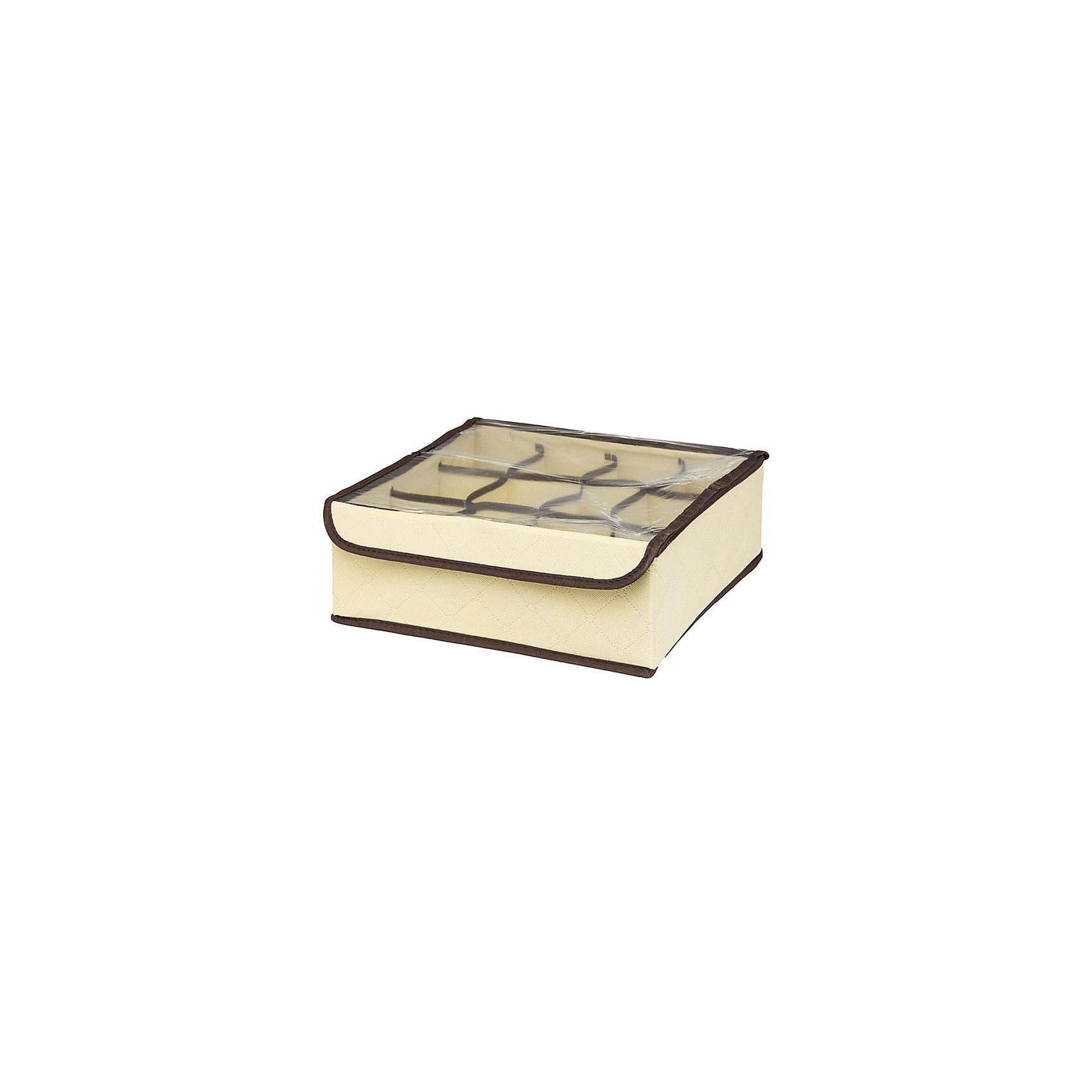 Кофр для нижнего белья и носков 32*32*12 см. Геометрия стиля, 12 секций, EL Casa, молочныйПорядок в детской<br>Кофр с 12 секциями подходит для хранения EL Casa нижнего белья, колготок, носков и другой одежды. Изготовлен из высококачественного нетканного материала, что позволяет сохранить естественную вентиляцию. Прозрачная крышка позволяет видеть содержимое кофра, не открывая его. Такой органайзер позволит вам хранить  вещи компактно и удобно. Размер 32х32х12 см.<br><br>Ширина мм: 330<br>Глубина мм: 125<br>Высота мм: 15<br>Вес г: 283<br>Возраст от месяцев: 0<br>Возраст до месяцев: 1188<br>Пол: Унисекс<br>Возраст: Детский<br>SKU: 6668765