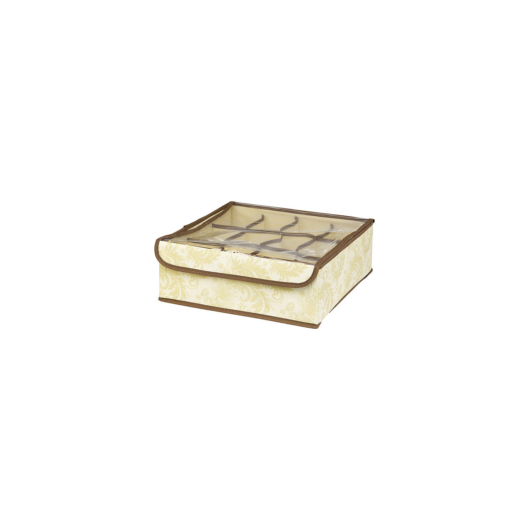 Кофр для нижнего белья и носков 32*32*12 см. Бежевый узор, 12 секций, EL CasaПорядок в детской<br>Кофр с 12 секциями подходит для хранения EL Casa нижнего белья, колготок, носков и другой одежды. Изготовлен из высококачественного нетканного материала, что позволяет сохранить естественную вентиляцию. Прозрачная крышка позволяет видеть содержимое кофра, не открывая его. Такой органайзер позволит вам хранить  вещи компактно и удобно. Размер 32х32х12 см.<br><br>Ширина мм: 330<br>Глубина мм: 125<br>Высота мм: 15<br>Вес г: 283<br>Возраст от месяцев: 0<br>Возраст до месяцев: 1188<br>Пол: Унисекс<br>Возраст: Детский<br>SKU: 6668766