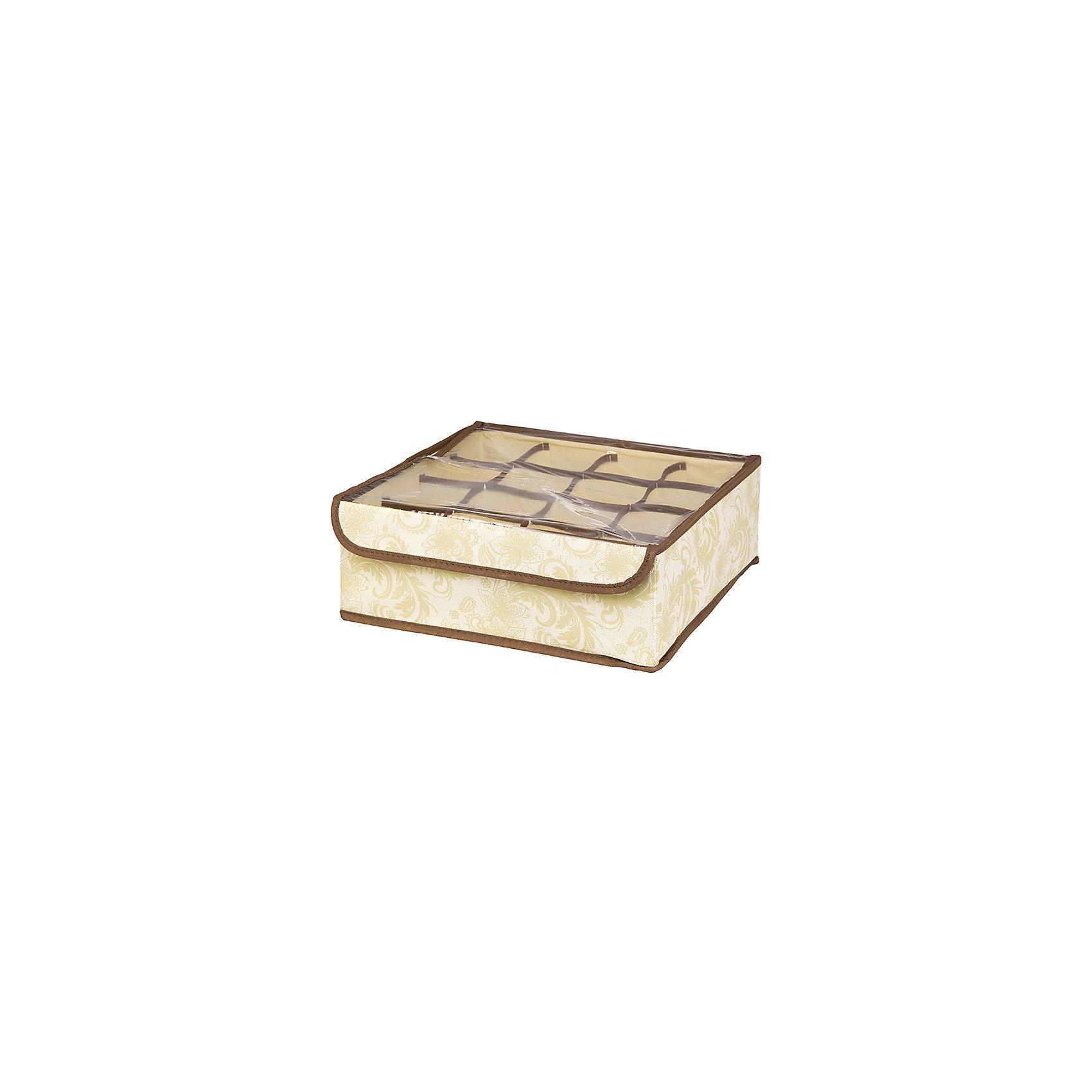 Кофр для нижнего белья и носков 32*32*12 см. Бежевый узор, 16 секций, EL CasaПорядок в детской<br>Характеристики товара:<br><br>• цвет: мульти<br>• материал: текстиль (полиэстер 100%)<br>• размер: 32 х 32 х 12 см<br>• вес: 300 г<br>• декорирован принтом<br>• прозрачная крышка<br>• защита от пыли<br>• естественная вентиляция<br>• 16 отделений<br>• удобный<br>• универсальный размер<br>• страна бренда: Российская Федерация<br>• страна производства: Китай<br><br>Такой кофр - отличный пример удобной и функциональной вещи для любого интерьера. В нем удобной хранить различные мелочи, например, нижнее белье и носки.<br><br>Кофр с жёстким каркасом для хранения может стать отличным приобретением для дома или подарком для любителей красивых оригинальных вещей.<br><br>Бренд EL Casa - это красивые и практичные товары для дома с современным дизайном. Они добавляют в жильё уюта и комфорта! <br><br>Кофр для нижнего белья и носков 32*32*12 см. Бежевый узор, 16 секций, EL Casa можно купить в нашем интернет-магазине.<br><br>Ширина мм: 330<br>Глубина мм: 125<br>Высота мм: 15<br>Вес г: 290<br>Возраст от месяцев: 0<br>Возраст до месяцев: 1188<br>Пол: Унисекс<br>Возраст: Детский<br>SKU: 6668771