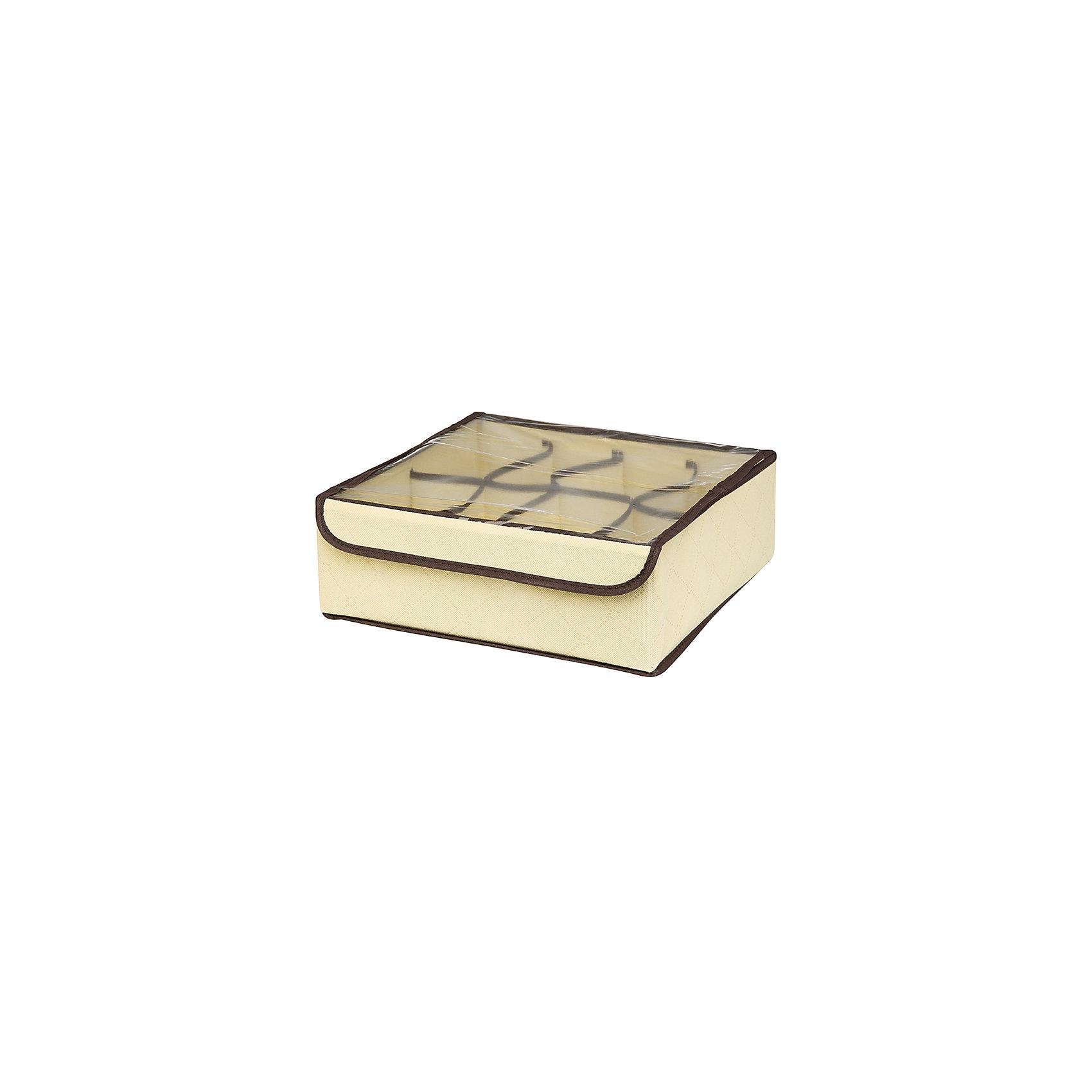 Кофр для нижнего белья и носков 32*32*12 см. Геометрия стиля, 8 секций, EL Casa, молочныйПорядок в детской<br>Характеристики товара:<br><br>• цвет: молочный<br>• материал: текстиль (полиэстер 100%)<br>• размер: 32 х 32 х 12 см<br>• вес: 300 г<br>• прозрачная крышка<br>• защита от пыли<br>• естественная вентиляция<br>• 8 отделений<br>• удобный<br>• универсальный размер<br>• страна бренда: Российская Федерация<br>• страна производства: Китай<br><br>Такой кофр - отличный пример удобной и функциональной вещи для любого интерьера. В нем удобной хранить различные мелочи, например, нижнее белье и носки.<br><br>Кофр с жёстким каркасом для хранения может стать отличным приобретением для дома или подарком для любителей красивых оригинальных вещей.<br><br>Бренд EL Casa - это красивые и практичные товары для дома с современным дизайном. Они добавляют в жильё уюта и комфорта! <br><br>Кофр для нижнего белья и носков 32*32*12 см. Геометрия стиля, 8 секций, EL Casa можно купить в нашем интернет-магазине.<br><br>Ширина мм: 330<br>Глубина мм: 125<br>Высота мм: 15<br>Вес г: 275<br>Возраст от месяцев: 0<br>Возраст до месяцев: 1188<br>Пол: Унисекс<br>Возраст: Детский<br>SKU: 6668772