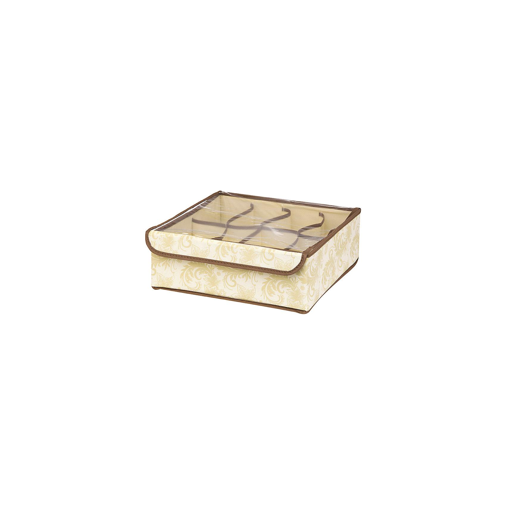 Кофр для нижнего белья и носков 32*32*12 см. Бежевый узор, 8 секций, EL CasaПорядок в детской<br>Характеристики товара:<br><br>• цвет: бежевый<br>• материал: текстиль (полиэстер 100%)<br>• размер: 32 х 32 х 12 см<br>• вес: 300 г<br>• декорирован принтом<br>• прозрачная крышка<br>• защита от пыли<br>• естественная вентиляция<br>• 8 отделений<br>• удобный<br>• универсальный размер<br>• страна бренда: Российская Федерация<br>• страна производства: Китай<br><br>Такой кофр - отличный пример удобной и функциональной вещи для любого интерьера. В нем удобной хранить различные мелочи, например, нижнее белье и носки.<br><br>Кофр с жёстким каркасом для хранения может стать отличным приобретением для дома или подарком для любителей красивых оригинальных вещей.<br><br>Бренд EL Casa - это красивые и практичные товары для дома с современным дизайном. Они добавляют в жильё уюта и комфорта! <br><br>Кофр для нижнего белья и носков 32*32*12 см. Бежевый узор, 8 секций, EL Casa можно купить в нашем интернет-магазине.<br><br>Ширина мм: 330<br>Глубина мм: 125<br>Высота мм: 15<br>Вес г: 275<br>Возраст от месяцев: 0<br>Возраст до месяцев: 1188<br>Пол: Унисекс<br>Возраст: Детский<br>SKU: 6668773
