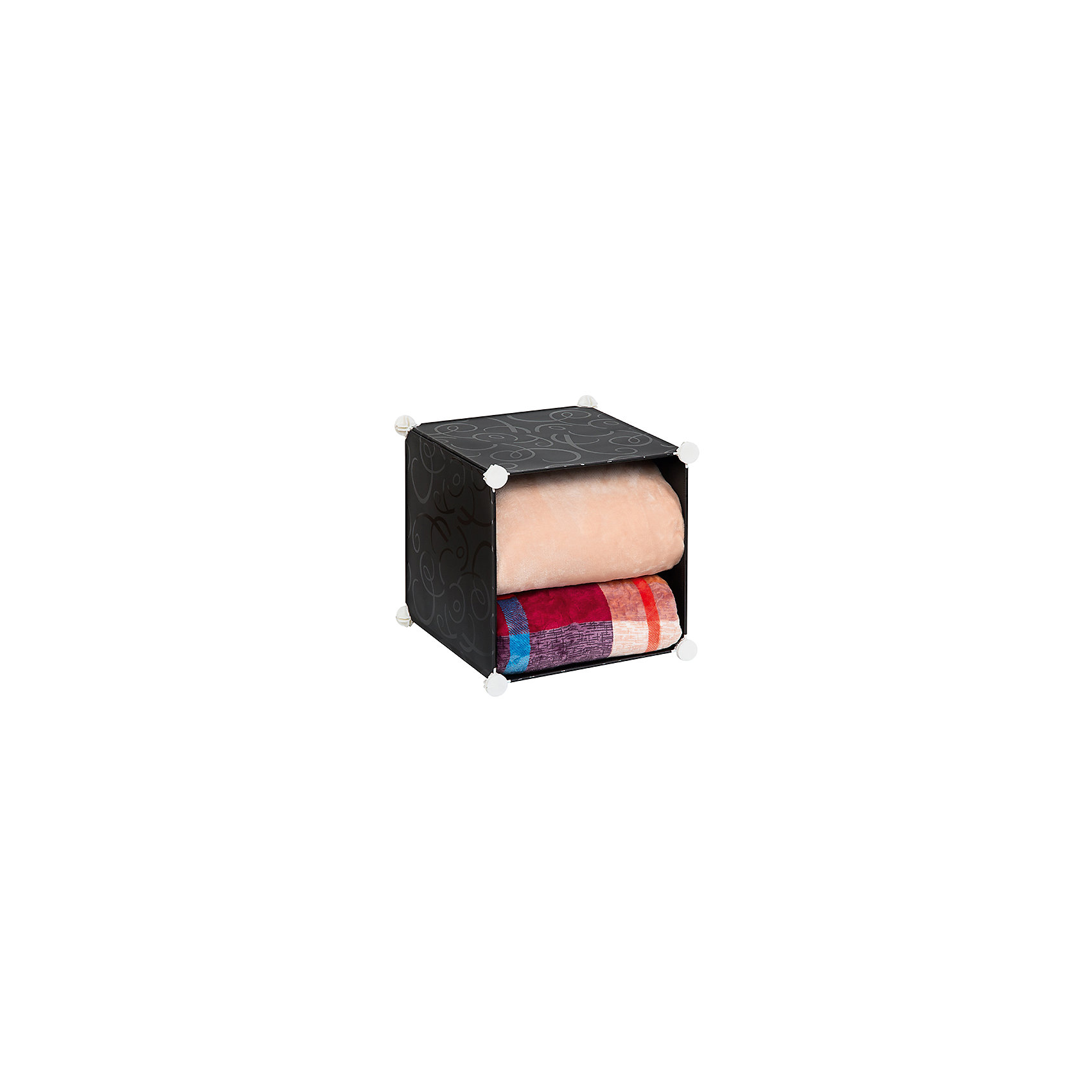Полка складная для модульного системы хранения 37*39*39 см. Черная с узором, EL CasaПорядок в детской<br>Модульный стеллаж предназначен для храненияодежды, мелочей и игрушек, легкий, вместительный, быстро собирается, не занимает много места,  имеет разные варианты сборки, комбинируется с другими полками  модульных систем бренда EL Casa. Полка состоит из сборного металлического каркаса, на который натянуты панели из полипропилена. Дверца на магните, ручка в виде отверстия.<br><br>Ширина мм: 420<br>Глубина мм: 370<br>Высота мм: 52<br>Вес г: 1250<br>Возраст от месяцев: 0<br>Возраст до месяцев: 1188<br>Пол: Унисекс<br>Возраст: Детский<br>SKU: 6668788