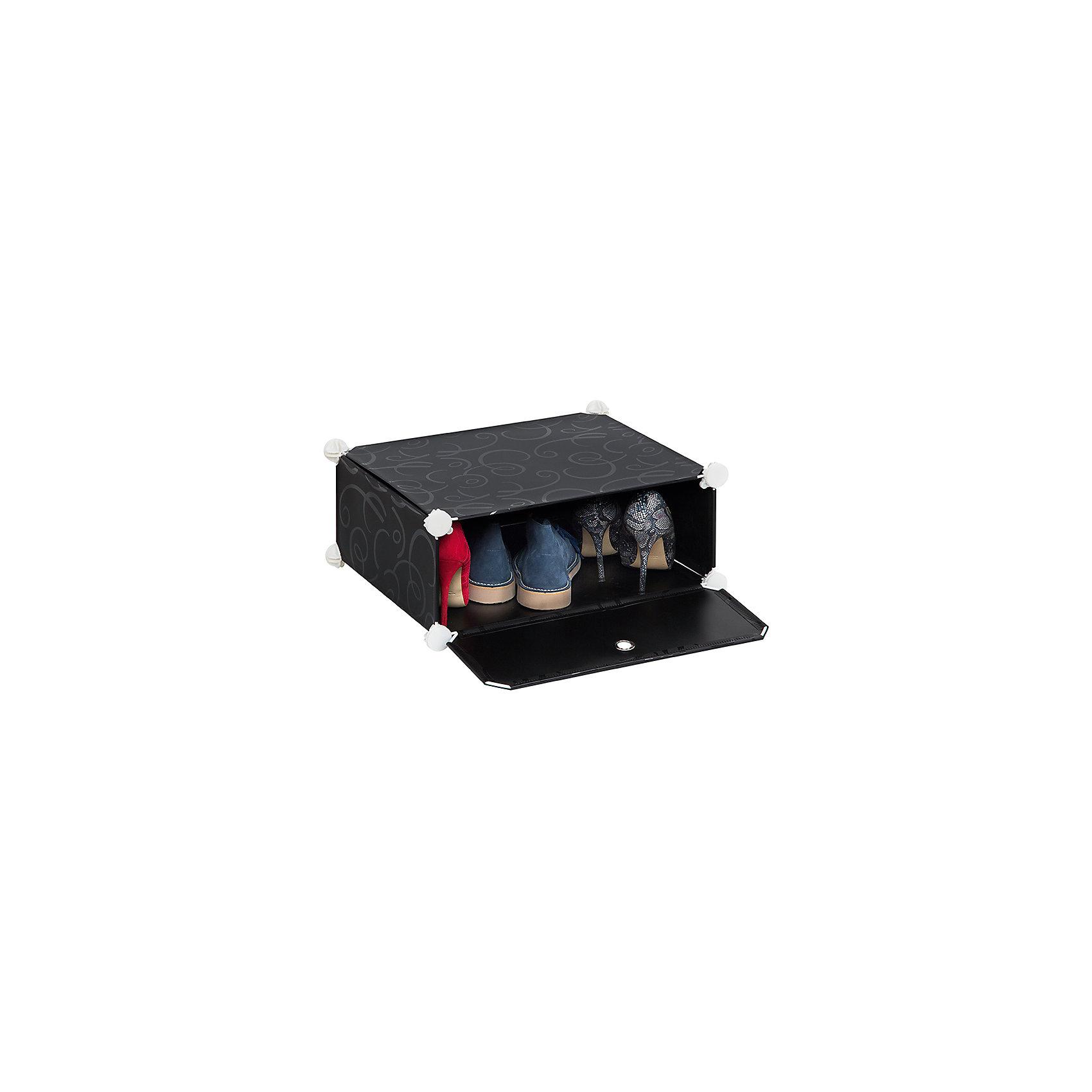Полка складная для модульного системы хранения 49*37*21 см. Черная с узором, EL CasaПорядок в детской<br>Модульный стеллаж предназначен  для храненияодежды, мелочей и игрушек, легкий, вместительный, быстро собирается, не занимает много места,  имеет разные варианты сборки, комбинируется с другими полками  модульных систем бренда EL Casa. Полка состоит из сборного металлического каркаса, на который натянуты панели из полипропилена. Дверца на магните, ручка в виде отверстия.<br><br>Ширина мм: 490<br>Глубина мм: 370<br>Высота мм: 52<br>Вес г: 3000<br>Возраст от месяцев: 0<br>Возраст до месяцев: 1188<br>Пол: Унисекс<br>Возраст: Детский<br>SKU: 6668790