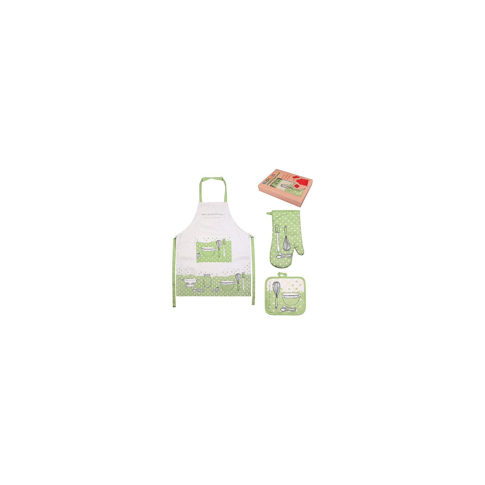 Набор:фартук, прихватка, рукавичка Салатовое настроение, EL CasaПосуда<br>Набор включает в себя фартук, одну прихватку и одну прихватку-рукавицу  и предлагается в подарочной коробке. Оригинальный дизайн понравится любой хозяйке и защитит одежду от загрязнения.<br><br>Ширина мм: 230<br>Глубина мм: 45<br>Высота мм: 300<br>Вес г: 415<br>Возраст от месяцев: 0<br>Возраст до месяцев: 1188<br>Пол: Унисекс<br>Возраст: Детский<br>SKU: 6668802
