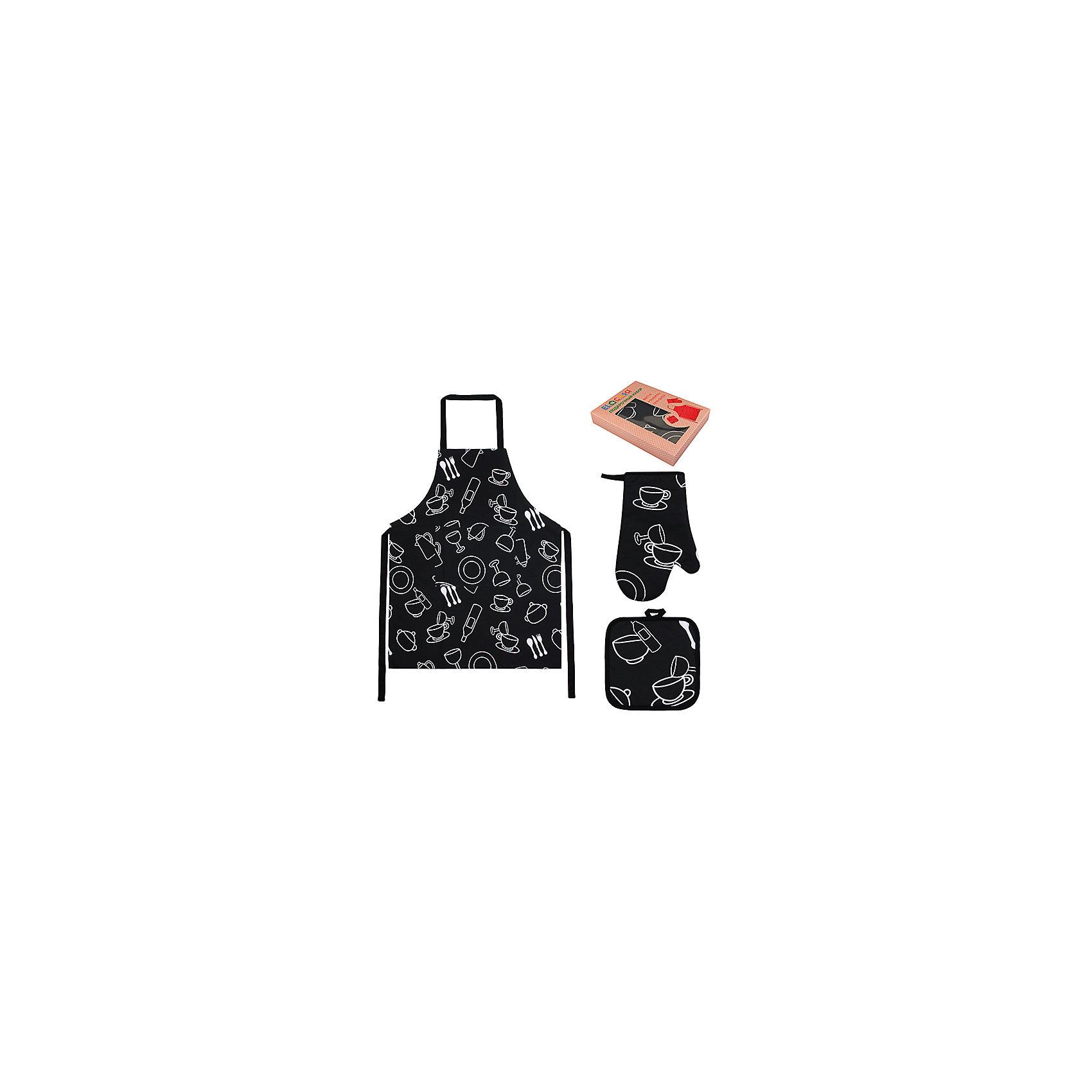 Набор: фартук, прихватка, рукавичка Чашки-рюмки, EL CasaПосуда<br>Набор включает в себя фартук, одну прихватку и одну прихватку-рукавицу  и предлагается в подарочной коробке. Оригинальный дизайн понравится любой хозяйке и защитит одежду от загрязнения.<br><br>Ширина мм: 230<br>Глубина мм: 45<br>Высота мм: 300<br>Вес г: 415<br>Возраст от месяцев: 0<br>Возраст до месяцев: 1188<br>Пол: Унисекс<br>Возраст: Детский<br>SKU: 6668804