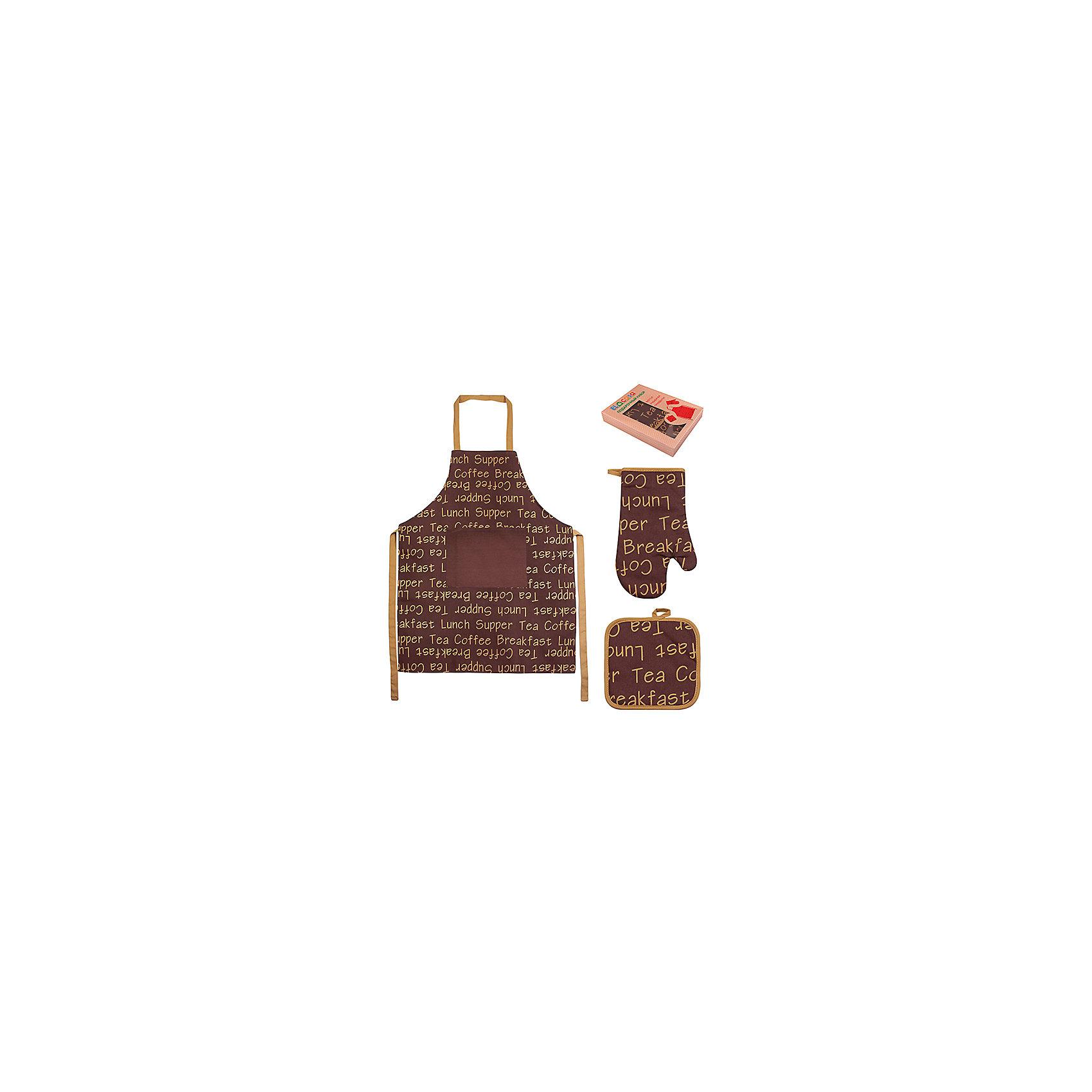 Набор: фартук, прихватка, рукавичка Чай-кофе, EL CasaПосуда<br>Характеристики товара:<br><br>• цвет: мульти<br>• материал: хлопок, полиэстер<br>• размер: фартук 64 х 80 см, прихватка 20 х 20 см, рукавичка 19 х 30 см<br>• вес: 400 г<br>• декорирован принтом<br>• комплектация: 3 предмета<br>• удобный<br>• упаковка: подарочная коробка<br>• легкий<br>• универсальный размер<br>• страна бренда: Российская Федерация<br>• страна производства: Китай<br><br>Подарочный набор для кухни - отличный пример красивой и функциональной вещи. В нем удобно готовить, благодаря универсальному дизайну и расцветке он подойдет и женщинам, и мужчинам.<br><br>Этот набор может стать отличным приобретением для дома или подарком для любителей красивых оригинальных вещей.<br><br>Бренд EL Casa - это красивые и практичные товары для дома с современным дизайном. Они добавляют в жильё уюта и комфорта! <br><br>Набор: фартук, прихватка, рукавичка Чай-кофе, EL Casa можно купить в нашем интернет-магазине.<br><br>Ширина мм: 230<br>Глубина мм: 45<br>Высота мм: 300<br>Вес г: 415<br>Возраст от месяцев: 0<br>Возраст до месяцев: 1188<br>Пол: Унисекс<br>Возраст: Детский<br>SKU: 6668805