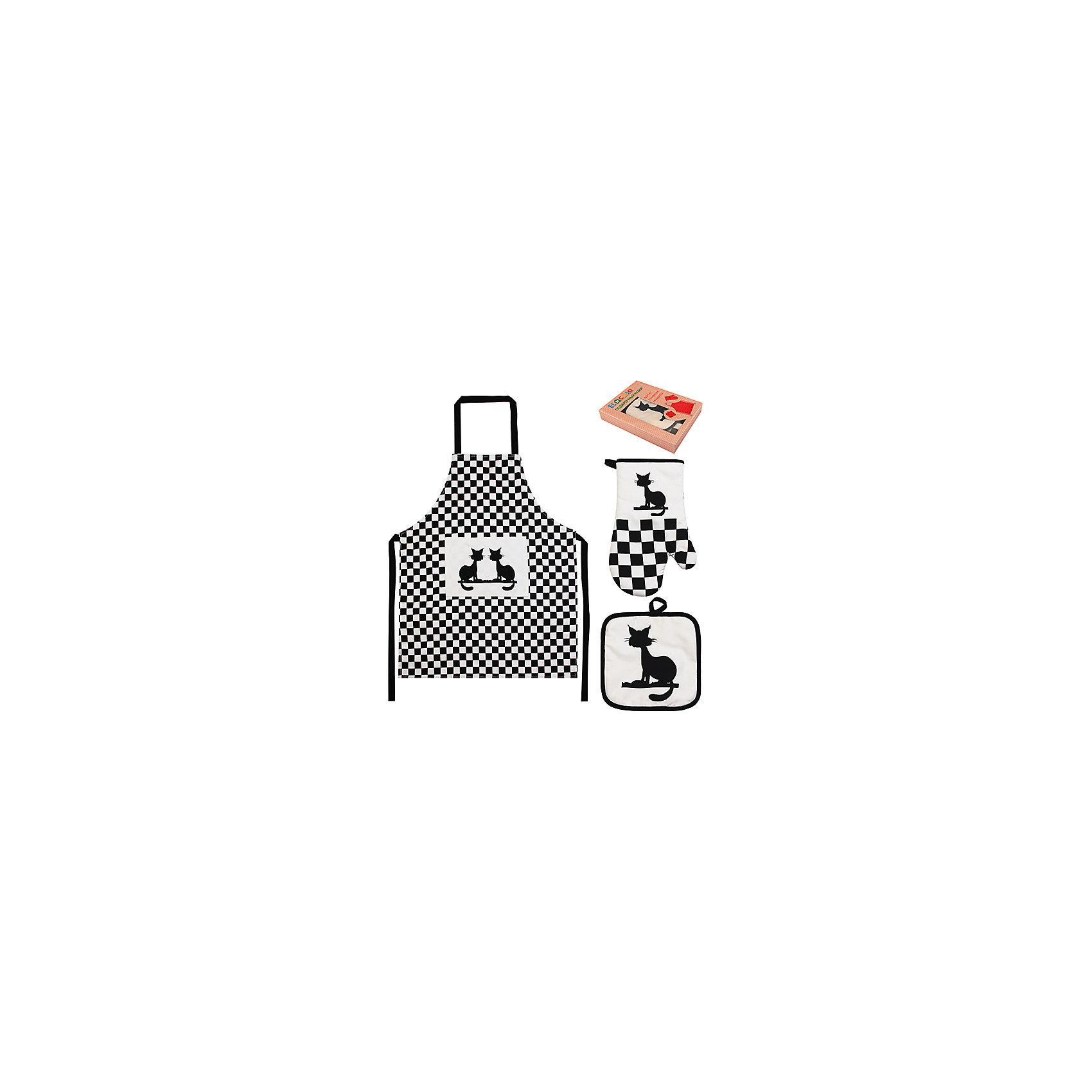 Набор: фартук, прихватка, рукавичка Коты, EL CasaПосуда<br>Набор включает в себя фартук, одну прихватку и одну прихватку-рукавицу  и предлагается в подарочной коробке. Оригинальный дизайн понравится любой хозяйке и защитит одежду от загрязнения.<br><br>Ширина мм: 230<br>Глубина мм: 45<br>Высота мм: 300<br>Вес г: 415<br>Возраст от месяцев: 0<br>Возраст до месяцев: 1188<br>Пол: Унисекс<br>Возраст: Детский<br>SKU: 6668806