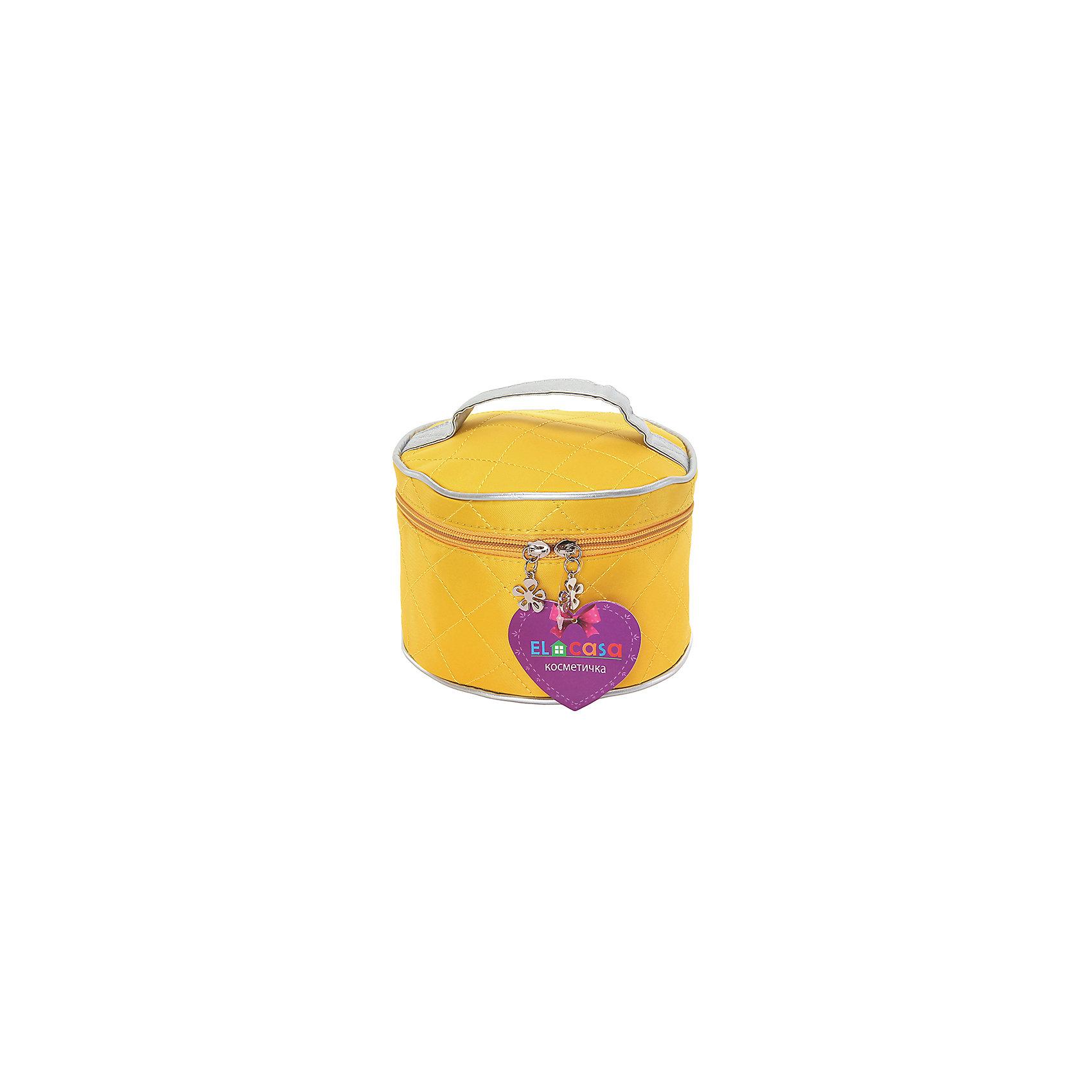 Косметичка Желтая, стеганая, EL CasaВ дорогу<br>Характеристики товара:<br><br>• цвет: желтый<br>• материал: полиэстер 100%<br>• размер: 17 х 17 х 12 см<br>• вес: 100 г<br>• застежка: молния<br>• ручка<br>• стильный дизайн<br>• удобная<br>• защита вещей от пыли<br>• стеганая<br>• универсальный размер<br>• страна бренда: Российская Федерация<br>• страна производства: Китай<br><br>Эта косметичка - отличный пример красивой и функциональной вещи. В ней удобной хранить различные мелочи, благодаря универсальному дизайну и небольшому размеру косметичка легко влезает в сумочку.<br><br>Яркая косметичка может стать отличным приобретением для дома или подарком для любителей красивых оригинальных вещей.<br><br>Бренд EL Casa - это красивые и практичные товары для дома с современным дизайном. Они добавляют в жильё уюта и комфорта! <br><br>Косметичку Желтая, стеганая, EL Casa, можно купить в нашем интернет-магазине.<br><br>Ширина мм: 170<br>Глубина мм: 170<br>Высота мм: 30<br>Вес г: 120<br>Возраст от месяцев: 0<br>Возраст до месяцев: 1188<br>Пол: Унисекс<br>Возраст: Детский<br>SKU: 6668807