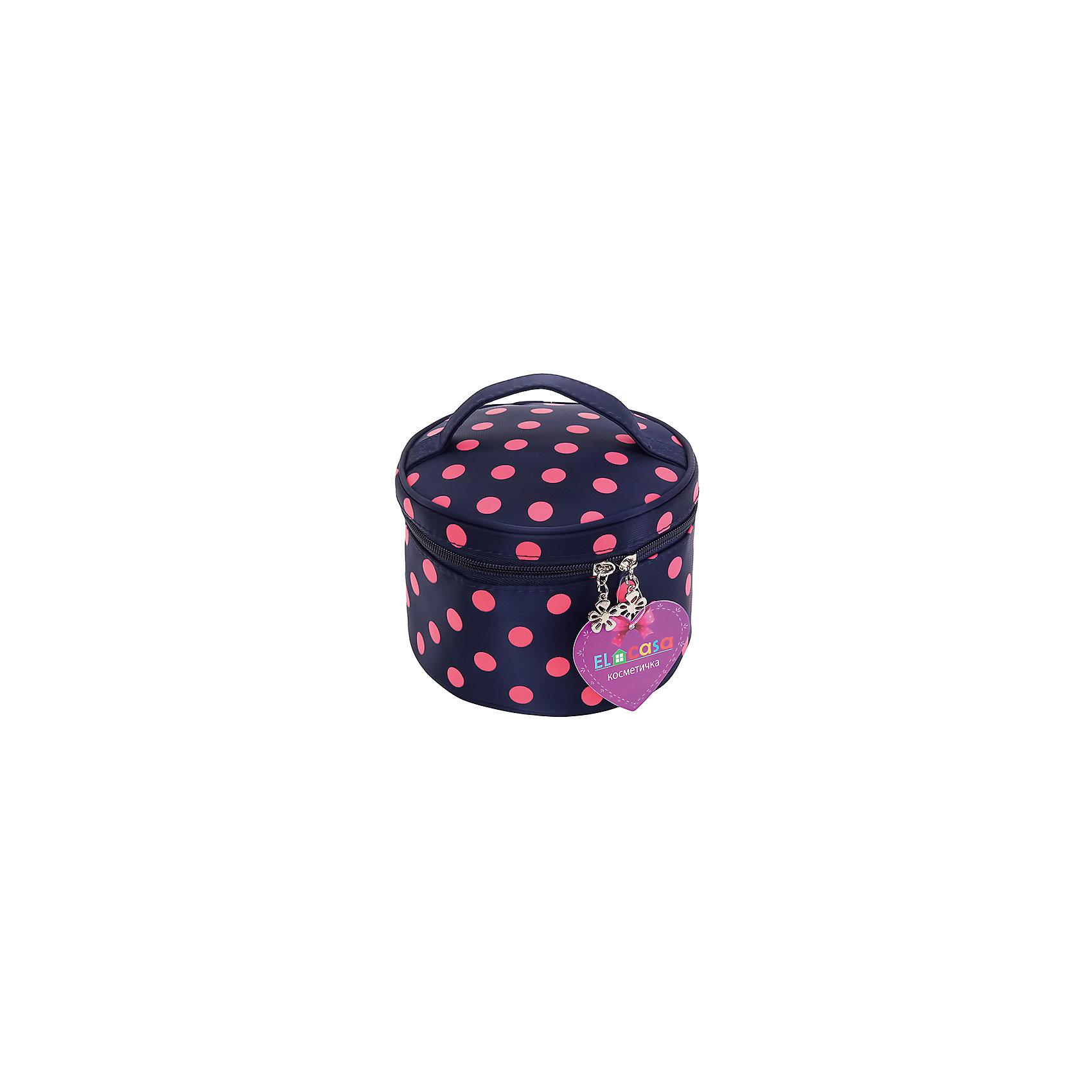 Косметичка Синяя с розовым горошком круглая, EL CasaВ дорогу<br>Характеристики товара:<br><br>• цвет: мульти<br>• материал: полиэстер 100%<br>• размер: 17 х 17 х 12 см<br>• вес: 100 г<br>• декорирована принтом<br>• застежка: молния<br>• ручка<br>• стильный дизайн<br>• удобная<br>• защита вещей от пыли<br>• универсальный размер<br>• страна бренда: Российская Федерация<br>• страна производства: Китай<br><br>Эта косметичка - отличный пример красивой и функциональной вещи. В ней удобной хранить различные мелочи, благодаря универсальному дизайну и небольшому размеру косметичка легко влезает в сумочку.<br><br>Яркая косметичка может стать отличным приобретением для дома или подарком для любителей красивых оригинальных вещей.<br><br>Бренд EL Casa - это красивые и практичные товары для дома с современным дизайном. Они добавляют в жильё уюта и комфорта! <br><br>Косметичку Синяя с розовым горошком круглая, EL Casa, можно купить в нашем интернет-магазине.<br><br>Ширина мм: 170<br>Глубина мм: 170<br>Высота мм: 30<br>Вес г: 120<br>Возраст от месяцев: 0<br>Возраст до месяцев: 1188<br>Пол: Унисекс<br>Возраст: Детский<br>SKU: 6668809