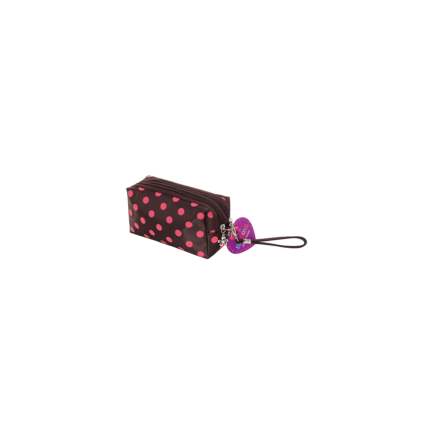 Косметичка Коричневая с розовым горошком, EL CasaПорядок в детской<br>Характеристики товара:<br><br>• цвет: мульти<br>• материал: полиэстер 100%<br>• размер: 20 х 8 х 10 см<br>• вес: 100 г<br>• декорирована принтом<br>• застежка: молния<br>• 2 отсека<br>• стильный дизайн<br>• удобная<br>• защита вещей от пыли<br>• универсальный размер<br>• страна бренда: Российская Федерация<br>• страна производства: Китай<br><br>Эта косметичка - отличный пример красивой и функциональной вещи. В ней удобной хранить различные мелочи, благодаря универсальному дизайну и небольшому размеру косметичка легко влезает в сумочку.<br><br>Яркая косметичка может стать отличным приобретением для дома или подарком для любителей красивых оригинальных вещей.<br><br>Бренд EL Casa - это красивые и практичные товары для дома с современным дизайном. Они добавляют в жильё уюта и комфорта! <br><br>Косметичку Коричневая с розовым горошком, EL Casa, можно купить в нашем интернет-магазине.<br><br>Ширина мм: 200<br>Глубина мм: 100<br>Высота мм: 30<br>Вес г: 100<br>Возраст от месяцев: 0<br>Возраст до месяцев: 1188<br>Пол: Унисекс<br>Возраст: Детский<br>SKU: 6668811