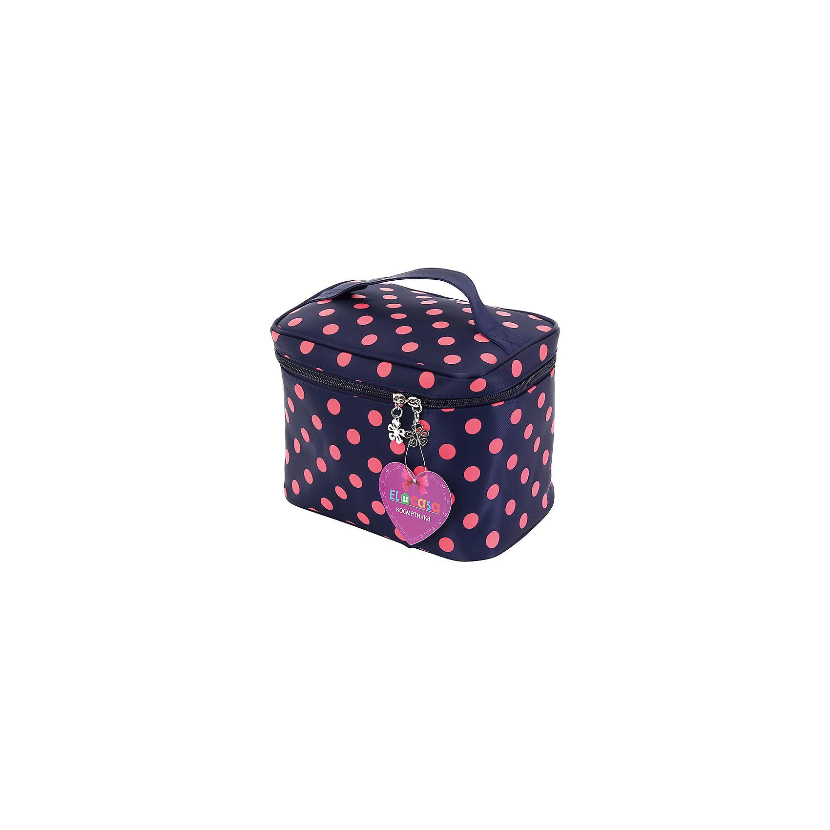 Косметичка Синяя с розовым горошком, EL CasaВ дорогу<br>Характеристики товара:<br><br>• цвет: мульти<br>• материал: полиэстер 100%<br>• размер: 9 х 13 х 20 см<br>• вес: 100 г<br>• декорирована принтом<br>• застежка: молния<br>• ручка<br>• стильный дизайн<br>• удобная<br>• защита вещей от пыли<br>• универсальный размер<br>• страна бренда: Российская Федерация<br>• страна производства: Китай<br><br>Эта косметичка - отличный пример красивой и функциональной вещи. В ней удобной хранить различные мелочи, благодаря универсальному дизайну и небольшому размеру косметичка легко влезает в сумочку.<br><br>Яркая косметичка может стать отличным приобретением для дома или подарком для любителей красивых оригинальных вещей.<br><br>Бренд EL Casa - это красивые и практичные товары для дома с современным дизайном. Они добавляют в жильё уюта и комфорта! <br><br>Косметичку Синяя с розовым горошком, EL Casa, можно купить в нашем интернет-магазине.<br><br>Ширина мм: 200<br>Глубина мм: 130<br>Высота мм: 30<br>Вес г: 150<br>Возраст от месяцев: 0<br>Возраст до месяцев: 1188<br>Пол: Унисекс<br>Возраст: Детский<br>SKU: 6668812