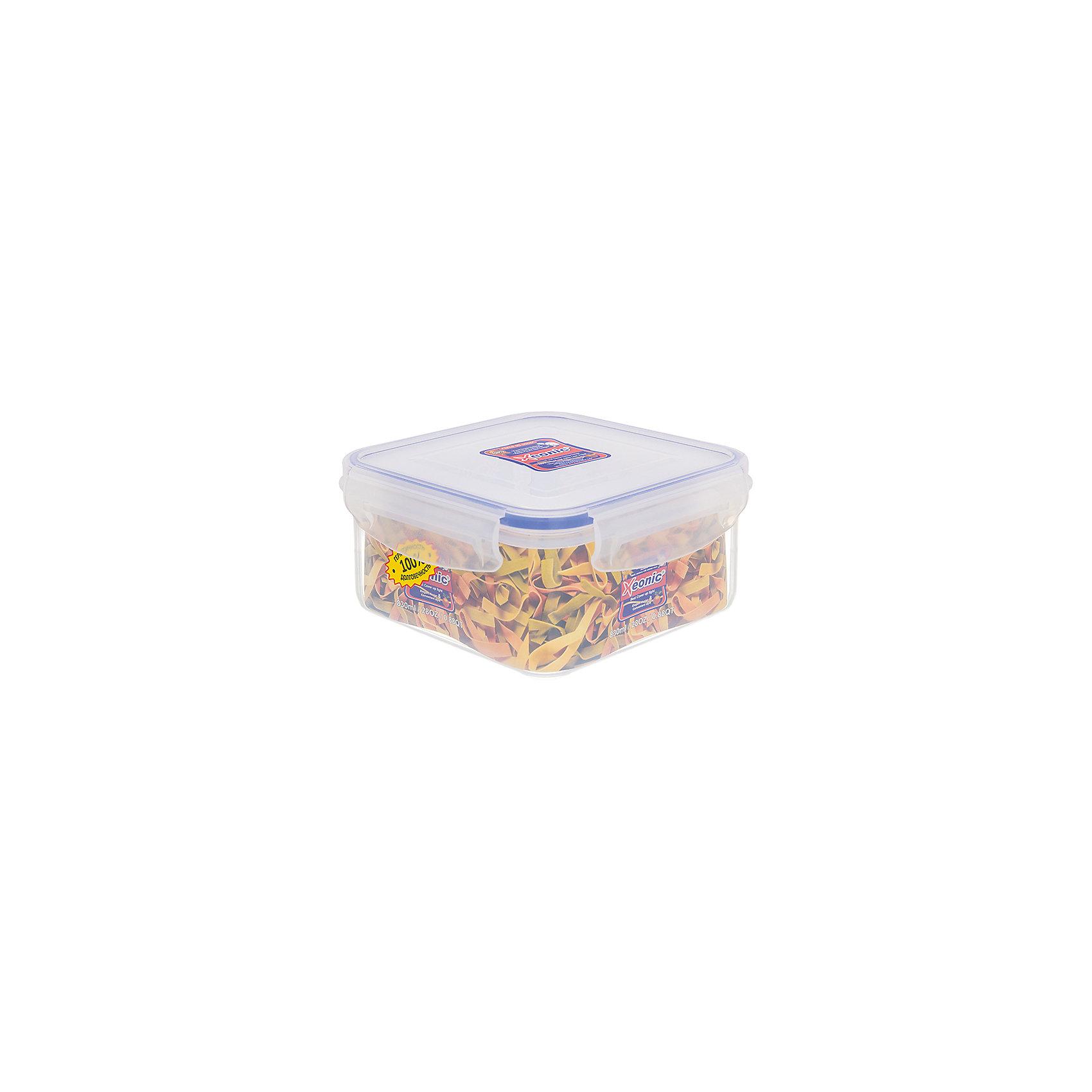 Контейнер квадратный 830 мл ХЕ222, Xeonic, синийПосуда<br>Контейнер квадратный 830 мл, высота - 7 см. ХЕ222 (синий), Xeonic Пластиковые герметичные контейнеры для хранения продуктов Xeonic произведены из высококачественных материалов, имеют 100% герметичность, термоустойчивы, могут быть использованы в микроволновой печи и в морозильной камере, устойчивы к воздействию масел и жиров, не впитывают запах. Не содержат Бисфенол А. Удобны в использовании, долговечны, легко открываются и закрываются, не занимают много места, можно мыть в посудомоечной машине.<br><br>Ширина мм: 143<br>Глубина мм: 143<br>Высота мм: 70<br>Вес г: 154<br>Возраст от месяцев: 0<br>Возраст до месяцев: 1188<br>Пол: Унисекс<br>Возраст: Детский<br>SKU: 6668820