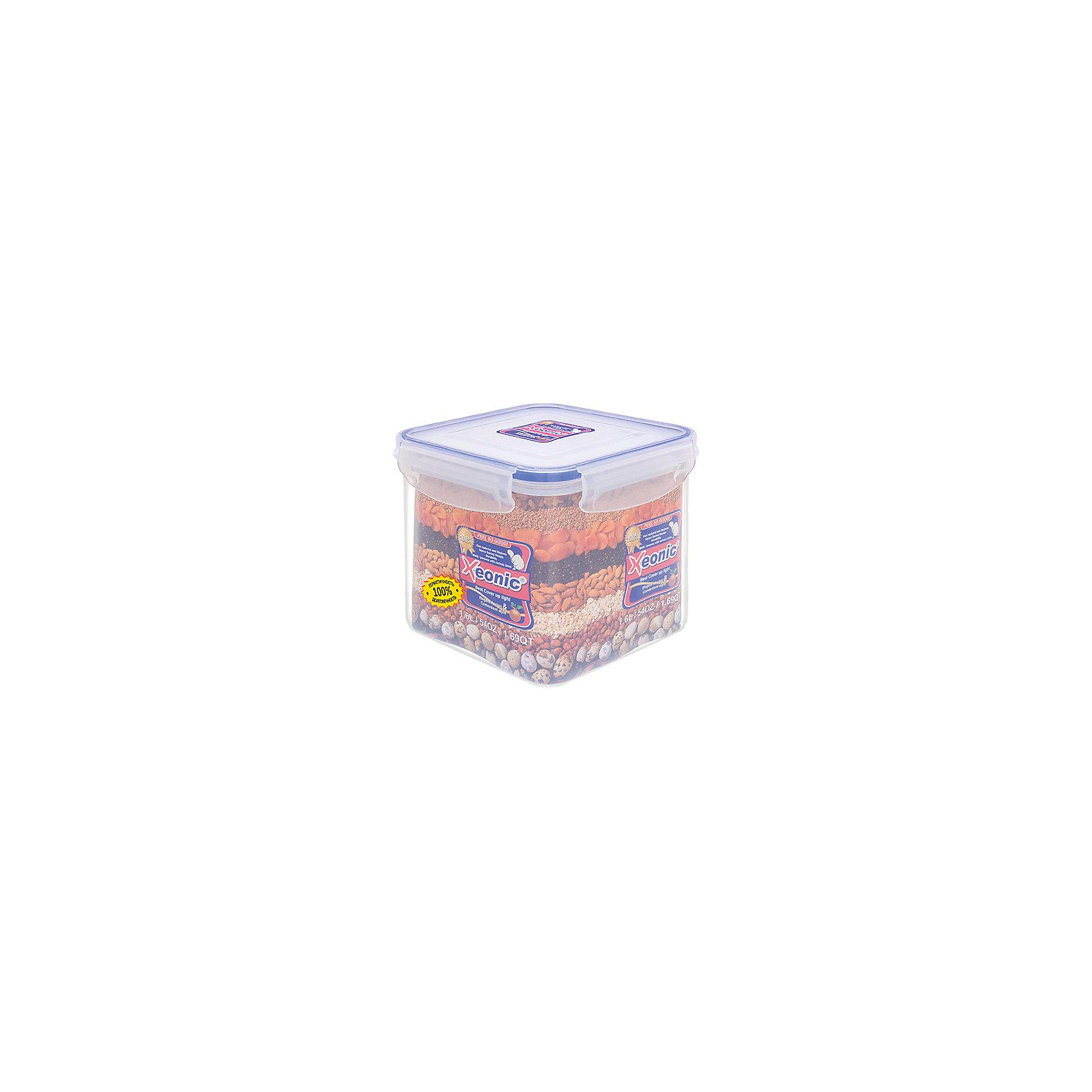 Контейнер квадратный 1,6 л, ХЕ223, Xeonic, синийПосуда<br>Характеристики товара:<br><br>• цвет: прозрачный<br>• материал: силикон, полипропилен<br>• размер: 14,3 х 12,5 см<br>• вес: 240 г<br>• объем: 1,6 л<br>• 100% герметичность<br>• для микроволновой печи и в морозильной камеры<br>• устойчив к воздействию масел и жиров<br>• не впитывают запах<br>• легко открывается и закрывается<br>• долго служит<br>• можно мыть в посудомоечной машине<br>• удобный размер<br>• страна бренда: КНДР<br>• страна производства: КНДР<br><br>Такой контейнер - отличный пример удобной и функциональной вещи для дома. Он отлично проработан, благодаря продуманному дизайну занимает мало места, при этом достаточно вместительный.<br><br>Контейнер может стать отличным приобретением для дома или подарком для любителей качественных и практичных вещей.<br><br>Бренд Xeonic делает для российских покупателей доступными предметы, созданные с применением последних технологий. Продукция производится из безопасных материалов. Оцените отличное соотношение цены и качества! <br><br>Контейнер квадратный 1,6 л, ХЕ223, Xeonic, синий, можно купить в нашем интернет-магазине.<br><br>Ширина мм: 143<br>Глубина мм: 143<br>Высота мм: 125<br>Вес г: 241<br>Возраст от месяцев: 0<br>Возраст до месяцев: 1188<br>Пол: Унисекс<br>Возраст: Детский<br>SKU: 6668821