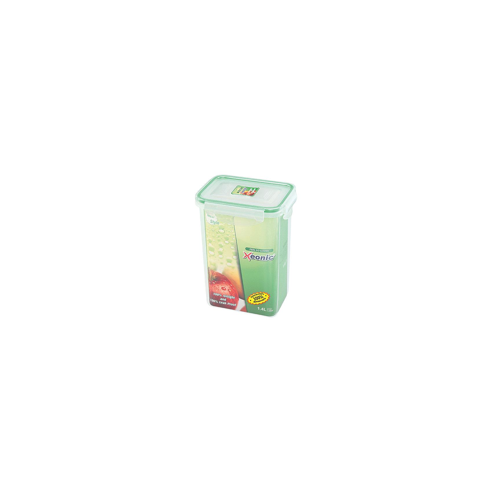Контейнер прямоугольный 1,4 л, XE024, Xeonic, зеленыйПосуда<br>Характеристики товара:<br><br>• цвет: прозрачный<br>• материал: силикон, полипропилен<br>• размер: 18,5 х 13,5 см<br>• вес: 220 г<br>• объем: 1,4 л<br>• 100% герметичность<br>• для микроволновой печи и в морозильной камеры<br>• устойчив к воздействию масел и жиров<br>• не впитывают запах<br>• легко открывается и закрывается<br>• долго служит<br>• можно мыть в посудомоечной машине<br>• удобный размер<br>• страна бренда: КНДР<br>• страна производства: КНДР<br><br>Такой контейнер - отличный пример удобной и функциональной вещи для дома. Он отлично проработан, благодаря продуманному дизайну занимает мало места, при этом достаточно вместительный.<br><br>Контейнер может стать отличным приобретением для дома или подарком для любителей качественных и практичных вещей.<br><br>Бренд Xeonic делает для российских покупателей доступными предметы, созданные с применением последних технологий. Продукция производится из безопасных материалов. Оцените отличное соотношение цены и качества! <br><br>Контейнер прямоугольный 1,4 л, XE024, Xeonic, зеленый, можно купить в нашем интернет-магазине.<br><br>Ширина мм: 135<br>Глубина мм: 100<br>Высота мм: 185<br>Вес г: 221<br>Возраст от месяцев: 0<br>Возраст до месяцев: 1188<br>Пол: Унисекс<br>Возраст: Детский<br>SKU: 6668827