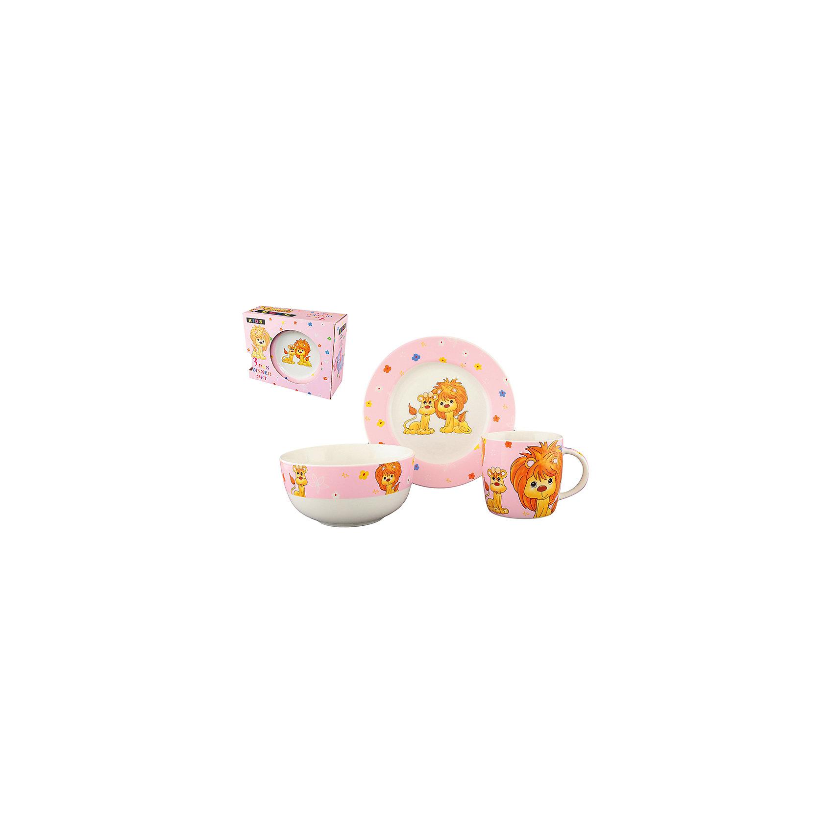 Набор детский 3 пр.Львята на розовом, Elan GalleryПосуда<br>Набор детский 3 пр.  Elan Gallery Львята на розовом, Elan Gallery Детский набор посуды  включает в себя 1 кружку 250 мл,1 миску 500 мл, и 1 десертную тарелку. Понравится маленьким принцессам! Изделие имеет подарочную упаковку, поэтому станет желанным подарком для детей и их родителей!<br><br>Ширина мм: 230<br>Глубина мм: 97<br>Высота мм: 178<br>Вес г: 963<br>Возраст от месяцев: 0<br>Возраст до месяцев: 1188<br>Пол: Унисекс<br>Возраст: Детский<br>SKU: 6668899