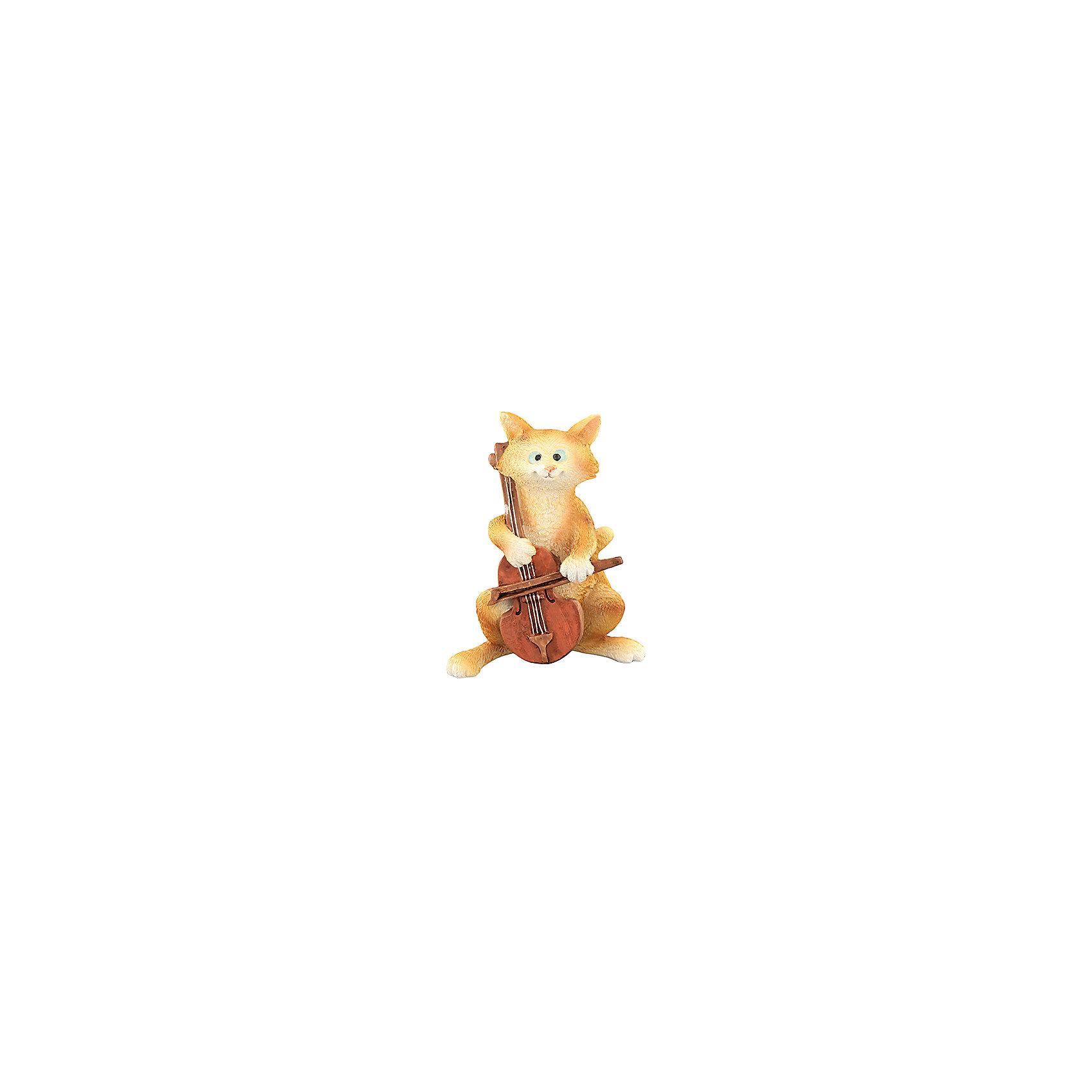 Фигурка декоративная Кот с виолончелью, Elan GalleryПредметы интерьера<br>Фигурка декоративная  Elan Gallery 7,5*4,5*9 см. Кот с виолончелью, Elan Gallery Декоративные фигурки - это отличный способ разнообразить внутреннее убранство вашего дома.<br><br>Ширина мм: 118<br>Глубина мм: 70<br>Высота мм: 98<br>Вес г: 222<br>Возраст от месяцев: 0<br>Возраст до месяцев: 1188<br>Пол: Унисекс<br>Возраст: Детский<br>SKU: 6668999