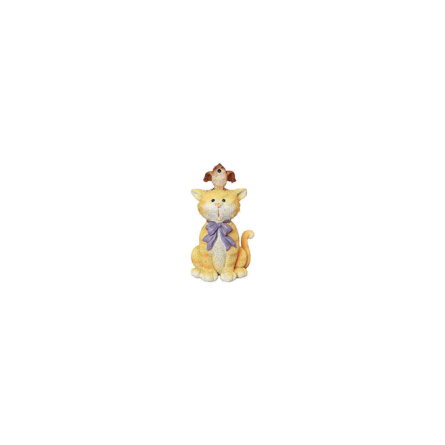 Фигурка декоративная Кот и птичка, Elan GalleryПредметы интерьера<br>Фигурка декоративная  Elan Gallery 7*6,5*12 см. Кот и птичка, Elan Gallery Декоративные фигурки - это отличный способ разнообразить внутреннее убранство вашего дома. Размер  7х6,5х12 см.<br><br>Ширина мм: 143<br>Глубина мм: 84<br>Высота мм: 94<br>Вес г: 208<br>Возраст от месяцев: 0<br>Возраст до месяцев: 1188<br>Пол: Унисекс<br>Возраст: Детский<br>SKU: 6669005
