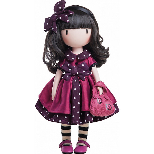 Кукла Горджусс Божья Коровка, 32 см, Paola ReinaБренды кукол<br>Кукла Горджусс Божья Коровка, 32 см, Paola Reina.<br><br>Характеристики:<br><br>• Для детей в возрасте: от 3 лет<br>• В комплекте: кукла, сумочка, брошюра<br>• Высота куклы: 32 см.<br>• Материалы: кукла изготовлена из винила; глаза выполнены в виде кристалла из твердого пластика; волосы сделаны из высококачественного нейлона; наряд выполнен из качественного текстиля<br>• Упаковка: подарочная картонная коробка с окошком<br><br>Кукла Горджусс Божья Коровка - это уникальная кукла, созданная по образу, который придумала известная художница из Шотландии – Сюзанн Вулкон. Кукла станет любимой подружкой для каждой девочки, а также желанным экспонатом для коллекционера. Кукла одета в красивое фиолетовое платье с пышной юбочкой, на ножках стильные полосатые гетры и яркие в тон платью туфли. <br><br>Образ куклы дополнен розовой сумочкой с изображением божьих коровок. Наряд куклы при необходимости можно снять. Длинные темные волосы куклы из высококачественного нейлона украшены изящным ободком с бантиком в горошек. Волосы блестят, легко расчесываются. <br><br>На лице куклы только глаза и лёгкий румянец — так ей проще стать отражением настроения ребёнка. Ведь этот образ уже сам по себе иллюстрация эмоций. Подобный стиль открывает простор для фантазии — нос, рот и брови можно додумать самостоятельно! <br><br>Кукла имеет пропорциональное телосложение. Голова, руки и ноги подвижны. Тело куклы выполнено из приятного на ощупь высококачественного винила, который имеет лёгкий аромат «английского сада» с нотками жимолости и розы.<br><br>Материалы, из которых изготовлена кукла, прошли все необходимые проверки на безопасность для детей. Качество подтверждено нормами безопасности EN17 ЕЭС. Дополнительно в комплекте с куклой предусмотрена информационная иллюстрированная брошюра.<br><br>Куклу Горджусс Божья Коровка, 32 см, Paola Reina можно купить в нашем интернет-магазине.<br>Ширина мм: 375; Глубина мм: 175; Высота мм: 105; Вес 