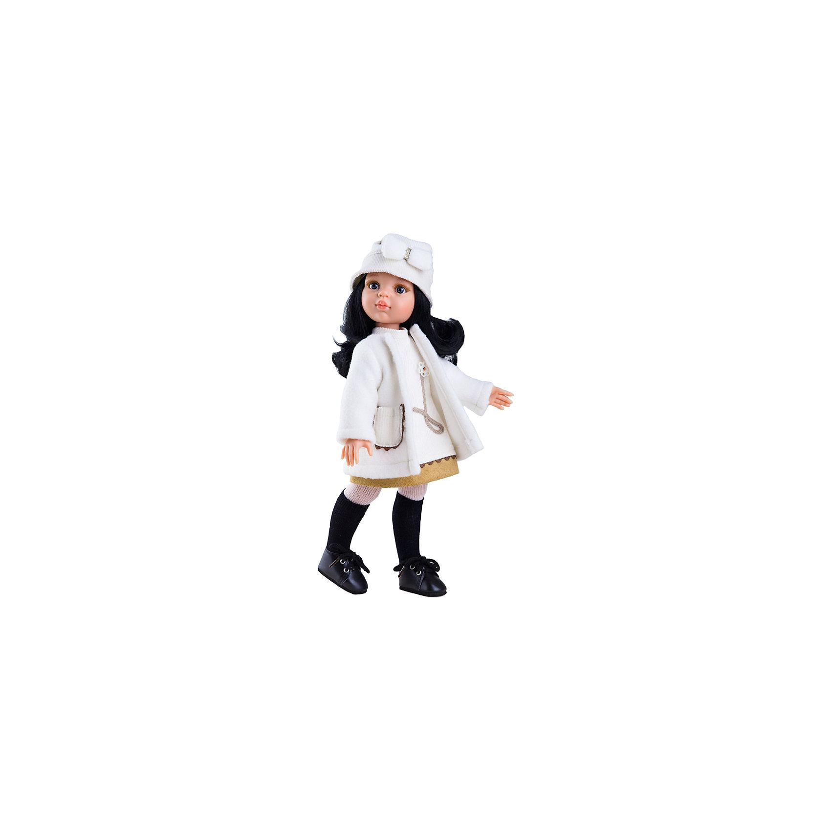 Кукла Карина, 32 см, Paola ReinaКлассические куклы<br>Кукла Карина, 32 см, Paola Reina.<br><br>Характеристики:<br><br>• Для детей в возрасте: от 3 лет<br>• Высота куклы: 32 см.<br>• Глаза не закрываются<br>• Дизайн одежды и обуви — Светланы Кривец<br>• Материалы: кукла изготовлена из винила; глаза выполнены в виде кристалла из прозрачного твердого пластика; волосы сделаны из высококачественного нейлона; наряд выполнен из качественного текстиля<br>• Упаковка: красивая картонная коробка с окошком<br><br>Кукла Карина, Paola Reina - это очаровательная брюнетка, которая станет любимой подружкой для вашей девочки. У куклы длинные густые вьющиеся волосы, выполненные из нейлона высокого качества и надёжно прошитые. Волосы блестят, не запутываются. Ваша девочка с легкостью может расчесывать куклу, мыть ей голову, при этом волосы не портятся и не выпадают. <br><br>Лицо куклы выглядит очень правдоподобно за счет тщательно проработанных черт. Большие серо-голубые глаза с длинными ресничками, легкий румянец на щечках, курносый носик и аккуратные губки – Карина завораживает. Глаза куклы не закрываются. <br><br>Карина одета очень красиво и стильно: на ней белое платье и такого же цвета теплое пальто, а дополняет образ модницы шапочка с декоративным бантиком. На ножках у куклы плотные колготки с черными гетрами и темные ботиночки на шнуровке. Одежду можно снимать. <br><br>Кукла имеет пропорциональное телосложение. Голова, руки и ноги подвижны. Тело куклы выполнено из приятного на ощупь нежного бархатистого высококачественного винила, который имеет лёгкий аромат ванили. <br><br>Материалы, из которых изготовлена кукла, прошли все необходимые проверки на безопасность для детей. Качество подтверждено нормами безопасности EN71 ЕЭС.<br><br>Куклу Карина, 32 см, Paola Reina можно купить в нашем интернет-магазине.<br><br>Ширина мм: 375<br>Глубина мм: 175<br>Высота мм: 105<br>Вес г: 625<br>Возраст от месяцев: 36<br>Возраст до месяцев: 144<br>Пол: Женский<br>Возраст: Детский<br>SKU: 6671049