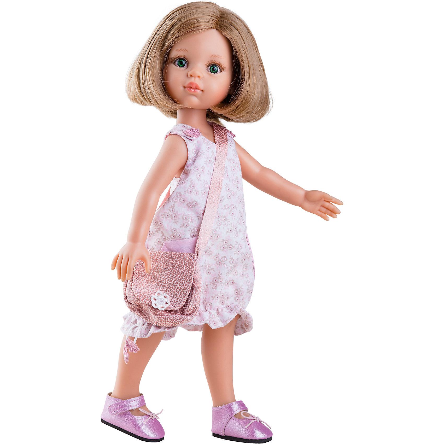 Кукла Карла, 32 см, Paola ReinaКлассические куклы<br>Кукла Карла, 32 см, Paola Reina.<br><br>Характеристики:<br><br>• Для детей в возрасте: от 3 лет<br>• Высота куклы: 32 см.<br>• Глаза не закрываются<br>• Дизайн одежды и обуви — Светланы Кривец<br>• Материалы: кукла изготовлена из винила; глаза выполнены в виде кристалла из прозрачного твердого пластика; волосы сделаны из высококачественного нейлона; наряд выполнен из качественного текстиля<br>• Упаковка: красивая картонная коробка с окошком<br><br>Кукла Карла, Paola Reina - это очаровательная блондинка, которая станет любимой подружкой для вашей девочки. У куклы густые волосы, которые уложены в стильное каре, выполненные из нейлона высокого качества и надёжно прошитые. Волосы блестят, не запутываются. Ваша девочка с легкостью может расчесывать куклу, мыть ей голову, при этом волосы не портятся и не выпадают. <br><br>Лицо куклы выглядит очень правдоподобно за счет тщательно проработанных черт. Большие глаза с длинными ресничками, легкий румянец на щечках, курносый носик и аккуратные губки – Карла завораживает. Глаза куклы не закрываются. <br><br>Карла одета очень красиво и стильно: на ней розовое платье в цветочек с накладными карманами и подолом на резинке, а дополняет образ модницы сумочка через плечо в той же цветовой гамме. На ножках у куклы стильные лиловые туфельки с блестящим покрытием. Одежду можно снимать. <br><br>Кукла имеет пропорциональное телосложение. Голова, руки и ноги подвижны. Тело куклы выполнено из приятного на ощупь нежного бархатистого высококачественного винила, который имеет лёгкий аромат ванили. <br><br>Материалы, из которых изготовлена кукла, прошли все необходимые проверки на безопасность для детей. Качество подтверждено нормами безопасности EN71 ЕЭС.<br><br>Куклу Карла, 32 см, Paola Reina можно купить в нашем интернет-магазине.<br><br>Ширина мм: 375<br>Глубина мм: 175<br>Высота мм: 105<br>Вес г: 625<br>Возраст от месяцев: 36<br>Возраст до месяцев: 144<br>Пол: Женский<br>Возраст: Детский<