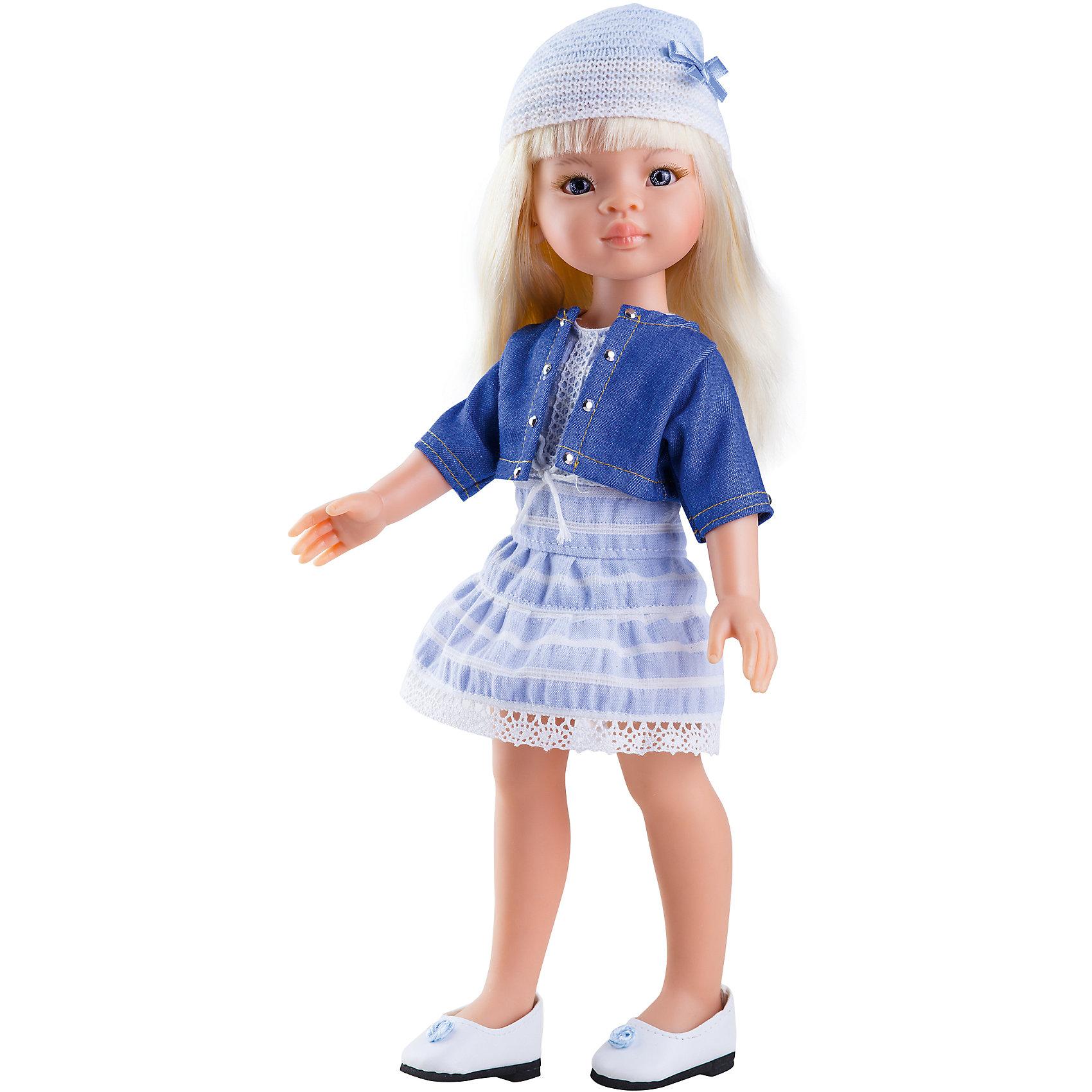 Кукла Маника, 32 см, Paola ReinaКуклы<br>Кукла Маника, 32 см, Paola Reina.<br><br>Характеристики:<br><br>• Для детей в возрасте: от 3 лет<br>• Высота куклы: 32 см.<br>• Глаза не закрываются<br>• Дизайн одежды и обуви — Светланы Кривец<br>• Материалы: кукла изготовлена из винила; глаза выполнены в виде кристалла из прозрачного твердого пластика; волосы сделаны из высококачественного нейлона; наряд выполнен из качественного текстиля<br>• Упаковка: красивая картонная коробка с окошком<br><br>Кукла Маника, Paola Reina- это очаровательная блондинка, которая станет любимой подружкой для вашей девочки. У куклы густые длинные волосы, которые собраны в два хвостика, выполненные из нейлона высокого качества и надёжно прошитые. Волосы блестят, не запутываются. Ваша девочка с легкостью может расчесывать куклу, мыть ей голову, при этом волосы не портятся и не выпадают. <br><br>Лицо куклы выглядит очень правдоподобно за счет тщательно проработанных черт. Большие глаза с длинными ресничками, легкий румянец на щечках, курносый носик и аккуратные губки – Маника завораживает. Глаза куклы не закрываются. <br><br>Маника одета очень красиво и стильно: на ней модное платье небесного цвета, короткая курточка, а дополняет образ куклы шапочка с бантиком. На ножках у куклы белые туфельки. Одежду можно снимать. <br><br>Кукла имеет пропорциональное телосложение. Голова, руки и ноги подвижны. Тело куклы выполнено из приятного на ощупь нежного бархатистого высококачественного винила, который имеет лёгкий аромат ванили. <br><br>Материалы, из которых изготовлена кукла, прошли все необходимые проверки на безопасность для детей. Качество подтверждено нормами безопасности EN71 ЕЭС.<br><br>Куклу Маника, 32 см, Paola Reina можно купить в нашем интернет-магазине.<br><br>Ширина мм: 375<br>Глубина мм: 175<br>Высота мм: 105<br>Вес г: 625<br>Возраст от месяцев: 36<br>Возраст до месяцев: 144<br>Пол: Женский<br>Возраст: Детский<br>SKU: 6671051
