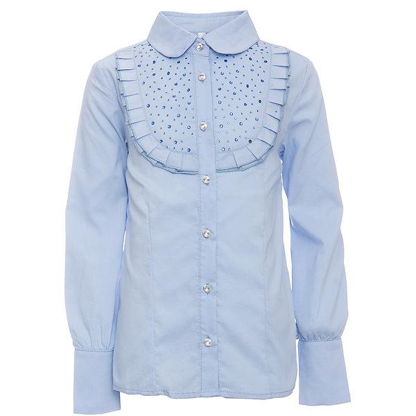 Блузка для девочки LuminosoБлузки и рубашки<br>Характеристики товара:<br><br>• цвет: голубой;<br>• состав: 65% хлопок, 32% полиэстер, 3% эластан;<br>• сезон: демисезон;<br>• особенности: школьная, с рюшами;<br>• застежка: пуговицы;<br>• с длинным рукавом;<br>• декорирована рюшами и стразами;<br>• манжеты рукавов на двух пуговицах;<br>• страна бренда: Россия;<br>• страна производства: Китай.<br><br>Школьная блузка с длинным рукавом для девочки. Голубая блузка приталенного кроя. Декорированна рюшами и стразами в тон изделию. Застегивается на пуговки, манжеты рукавов на двух пуговицах.<br><br>Блузка для девочки Luminoso (Люминосо) можно купить в нашем интернет-магазине.<br><br>Ширина мм: 186<br>Глубина мм: 87<br>Высота мм: 198<br>Вес г: 197<br>Цвет: голубой<br>Возраст от месяцев: 120<br>Возраст до месяцев: 132<br>Пол: Женский<br>Возраст: Детский<br>Размер: 146,164,158,152,140,134,128,122<br>SKU: 6672029