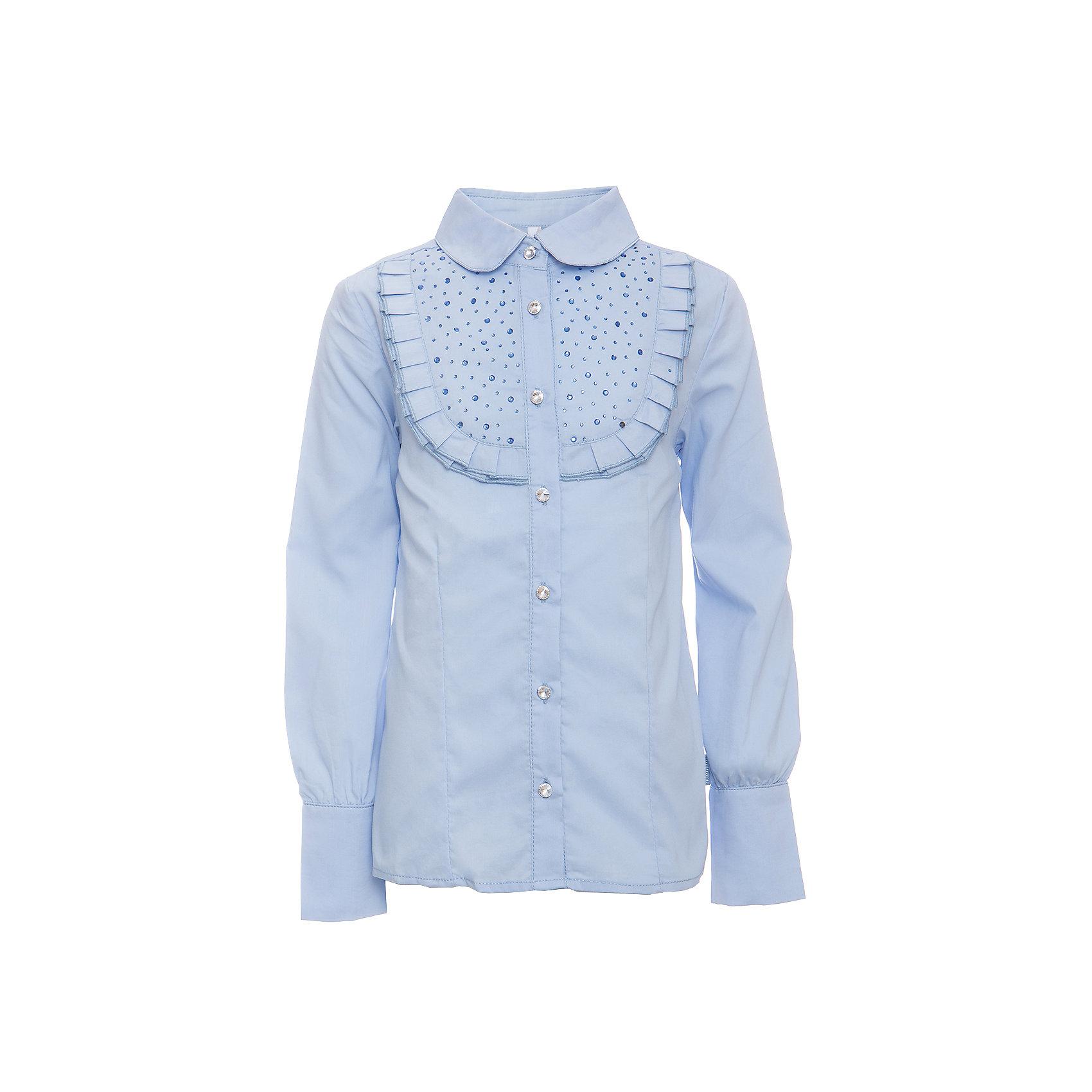 Блузка для девочки LuminosoБлузки и рубашки<br>Характеристики товара:<br><br>• цвет: голубой;<br>• состав: 65% хлопок, 32% полиэстер, 3% эластан;<br>• сезон: демисезон;<br>• особенности: школьная, с рюшами;<br>• застежка: пуговицы;<br>• с длинным рукавом;<br>• декорирована рюшами и стразами;<br>• манжеты рукавов на двух пуговицах;<br>• страна бренда: Россия;<br>• страна производства: Китай.<br><br>Школьная блузка с длинным рукавом для девочки. Голубая блузка приталенного кроя. Декорированна рюшами и стразами в тон изделию. Застегивается на пуговки, манжеты рукавов на двух пуговицах.<br><br>Блузка для девочки Luminoso (Люминосо) можно купить в нашем интернет-магазине.<br><br>Ширина мм: 186<br>Глубина мм: 87<br>Высота мм: 198<br>Вес г: 197<br>Цвет: голубой<br>Возраст от месяцев: 156<br>Возраст до месяцев: 168<br>Пол: Женский<br>Возраст: Детский<br>Размер: 164,146,122,128,134,140,152,158<br>SKU: 6672029