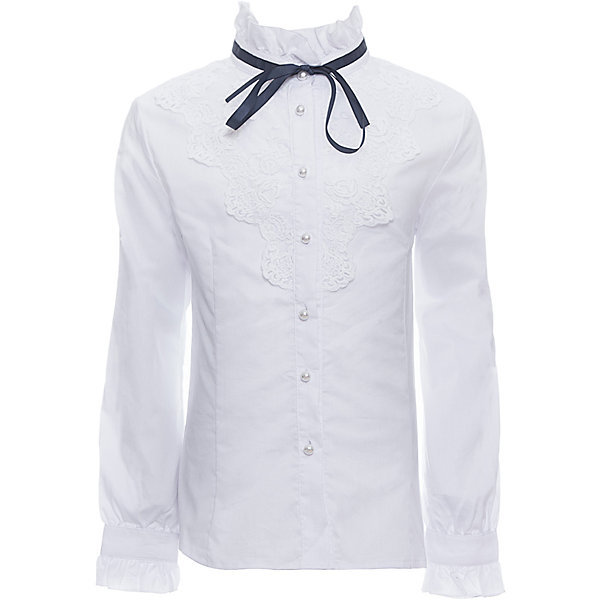 Блузка для девочки LuminosoБлузки и рубашки<br>Характеристики товара:<br><br>• цвет: белый;<br>• состав: 65% хлопок, 32% полиэстер, 3% эластан;<br>• сезон: демисезон;<br>• особенности: школьная, с кружевом;<br>• застежка: пуговицы;<br>• с длинным рукавом;<br>• декорирована кружевом и бантиком;<br>• манжеты рукавов на пуговице;<br>• страна бренда: Россия;<br>• страна производства: Китай.<br><br>Школьная блузка с длинным рукавом для девочки. Белая блузка приталенного кроя. Декорирована изящным кружевом и контрастным бантиком синего цвета. Застегивается на пуговки, манжеты рукавов на одной пуговице.<br><br>Блузка для девочки Luminoso (Люминосо) можно купить в нашем интернет-магазине.<br><br>Ширина мм: 186<br>Глубина мм: 87<br>Высота мм: 198<br>Вес г: 197<br>Цвет: белый<br>Возраст от месяцев: 156<br>Возраст до месяцев: 168<br>Пол: Женский<br>Возраст: Детский<br>Размер: 164,158,152,146,140,134,128,122<br>SKU: 6672047