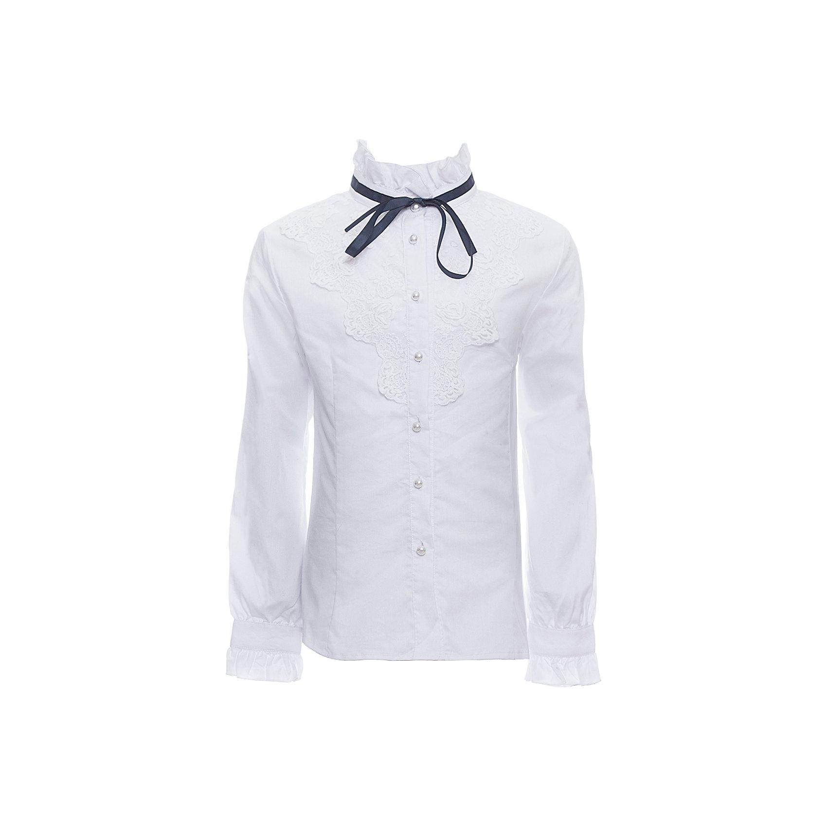 Блузка для девочки LuminosoБлузки и рубашки<br>Характеристики товара:<br><br>• цвет: белый;<br>• состав: 65% хлопок, 32% полиэстер, 3% эластан;<br>• сезон: демисезон;<br>• особенности: школьная, с кружевом;<br>• застежка: пуговицы;<br>• с длинным рукавом;<br>• декорирована кружевом и бантиком;<br>• манжеты рукавов на пуговице;<br>• страна бренда: Россия;<br>• страна производства: Китай.<br><br>Школьная блузка с длинным рукавом для девочки. Белая блузка приталенного кроя. Декорирована изящным кружевом и контрастным бантиком синего цвета. Застегивается на пуговки, манжеты рукавов на одной пуговице.<br><br>Блузка для девочки Luminoso (Люминосо) можно купить в нашем интернет-магазине.<br><br>Ширина мм: 186<br>Глубина мм: 87<br>Высота мм: 198<br>Вес г: 197<br>Цвет: белый<br>Возраст от месяцев: 72<br>Возраст до месяцев: 84<br>Пол: Женский<br>Возраст: Детский<br>Размер: 122,164,128,134,140,146,152,158<br>SKU: 6672047