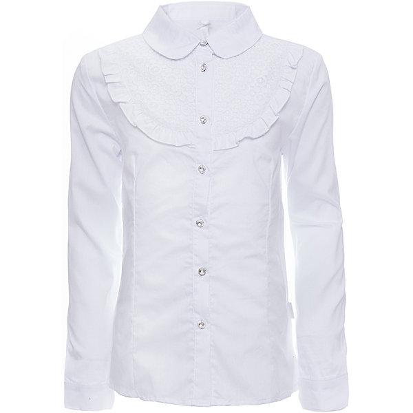 Блузка для девочки LuminosoБлузки и рубашки<br>Характеристики товара:<br><br>• цвет: белый;<br>• состав: 65% хлопок, 32% полиэстер, 3% эластан;<br>• сезон: демисезон;<br>• особенности: школьная, с рюшами;<br>• застежка: пуговицы;<br>• с длинным рукавом;<br>• декорирована кружевом и рюшами;<br>• манжеты рукавов на двух пуговицах;<br>• страна бренда: Россия;<br>• страна производства: Китай.<br><br>Школьная блузка с длинным рукавом для девочки. Блузка приталенного кроя. Декорирована рюшами и кружевом в тон изделию. Застегивается на пуговки, манжеты рукавов на двух пуговицах.<br><br>Блузка для девочки Luminoso (Люминосо) можно купить в нашем интернет-магазине.<br><br>Ширина мм: 186<br>Глубина мм: 87<br>Высота мм: 198<br>Вес г: 197<br>Цвет: белый<br>Возраст от месяцев: 72<br>Возраст до месяцев: 84<br>Пол: Женский<br>Возраст: Детский<br>Размер: 122,164,158,152,146,140,134,128<br>SKU: 6672056