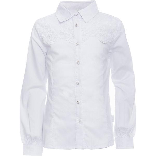 Блузка для девочки LuminosoБлузки и рубашки<br>Характеристики товара:<br><br>• цвет: белый;<br>• состав: 65% хлопок, 32% полиэстер, 3% эластан;<br>• сезон: демисезон;<br>• особенности: школьная, с кружевом;<br>• застежка: пуговицы;<br>• с длинным рукавом;<br>• декорирована кружевом и брошью;<br>• манжеты рукавов на пуговице;<br>• страна бренда: Россия;<br>• страна производства: Китай.<br><br>Школьная блузка с длинным рукавом для девочки. Блузка приталенного кроя. Декорирована изящной брошью и кружевом в тон изделию. Застегивается на пуговки, манжеты рукавов на одной пуговицу.<br><br>Блузка для девочки Luminoso (Люминосо) можно купить в нашем интернет-магазине.<br>Ширина мм: 186; Глубина мм: 87; Высота мм: 198; Вес г: 197; Цвет: белый; Возраст от месяцев: 72; Возраст до месяцев: 84; Пол: Женский; Возраст: Детский; Размер: 122,164,158,152,146,140,134,128; SKU: 6672065;
