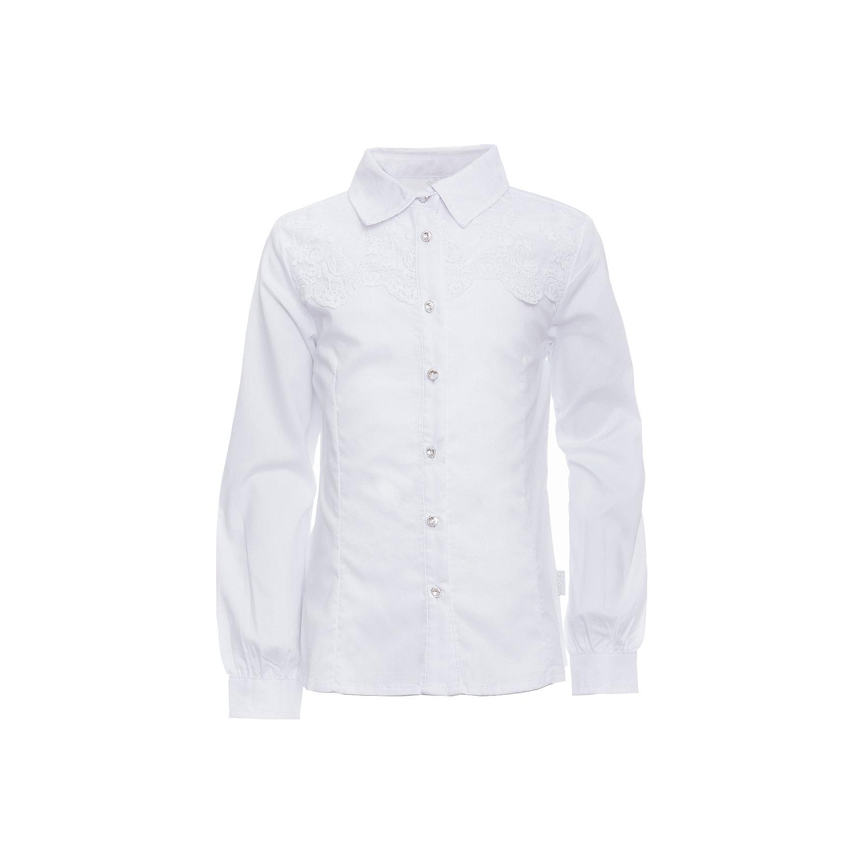 Блузка для девочки LuminosoБлузки и рубашки<br>Характеристики товара:<br><br>• цвет: белый;<br>• состав: 65% хлопок, 32% полиэстер, 3% эластан;<br>• сезон: демисезон;<br>• особенности: школьная, с кружевом;<br>• застежка: пуговицы;<br>• с длинным рукавом;<br>• декорирована кружевом и брошью;<br>• манжеты рукавов на пуговице;<br>• страна бренда: Россия;<br>• страна производства: Китай.<br><br>Школьная блузка с длинным рукавом для девочки. Блузка приталенного кроя. Декорирована изящной брошью и кружевом в тон изделию. Застегивается на пуговки, манжеты рукавов на одной пуговицу.<br><br>Блузка для девочки Luminoso (Люминосо) можно купить в нашем интернет-магазине.<br><br>Ширина мм: 186<br>Глубина мм: 87<br>Высота мм: 198<br>Вес г: 197<br>Цвет: белый<br>Возраст от месяцев: 72<br>Возраст до месяцев: 84<br>Пол: Женский<br>Возраст: Детский<br>Размер: 122,164,128,134,140,146,152,158<br>SKU: 6672065