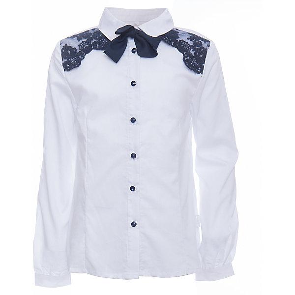 Блузка для девочки LuminosoБлузки и рубашки<br>Характеристики товара:<br><br>• цвет: белый;<br>• состав: 65% хлопок, 32% полиэстер, 3% эластан;<br>• сезон: демисезон;<br>• особенности: школьная, с кружевом;<br>• застежка: пуговицы;<br>• с длинным рукавом;<br>• декорирована кружевом и галстуком;<br>• манжеты рукавов на пуговице;<br>• страна бренда: Россия;<br>• страна производства: Китай.<br><br>Школьная блузка с длинным рукавом для девочки. Блузка приталенного кроя. Декорирована изящной контрастным кружевом синего цвета. Застегивается на пуговки, манжеты рукавов на одной пуговице. Пуговицы  и галстук контрастного синего цвета.<br><br>Блузка для девочки Luminoso (Люминосо) можно купить в нашем интернет-магазине.<br>Ширина мм: 186; Глубина мм: 87; Высота мм: 198; Вес г: 197; Цвет: белый; Возраст от месяцев: 72; Возраст до месяцев: 84; Пол: Женский; Возраст: Детский; Размер: 122,164,158,152,146,140,134,128; SKU: 6672074;