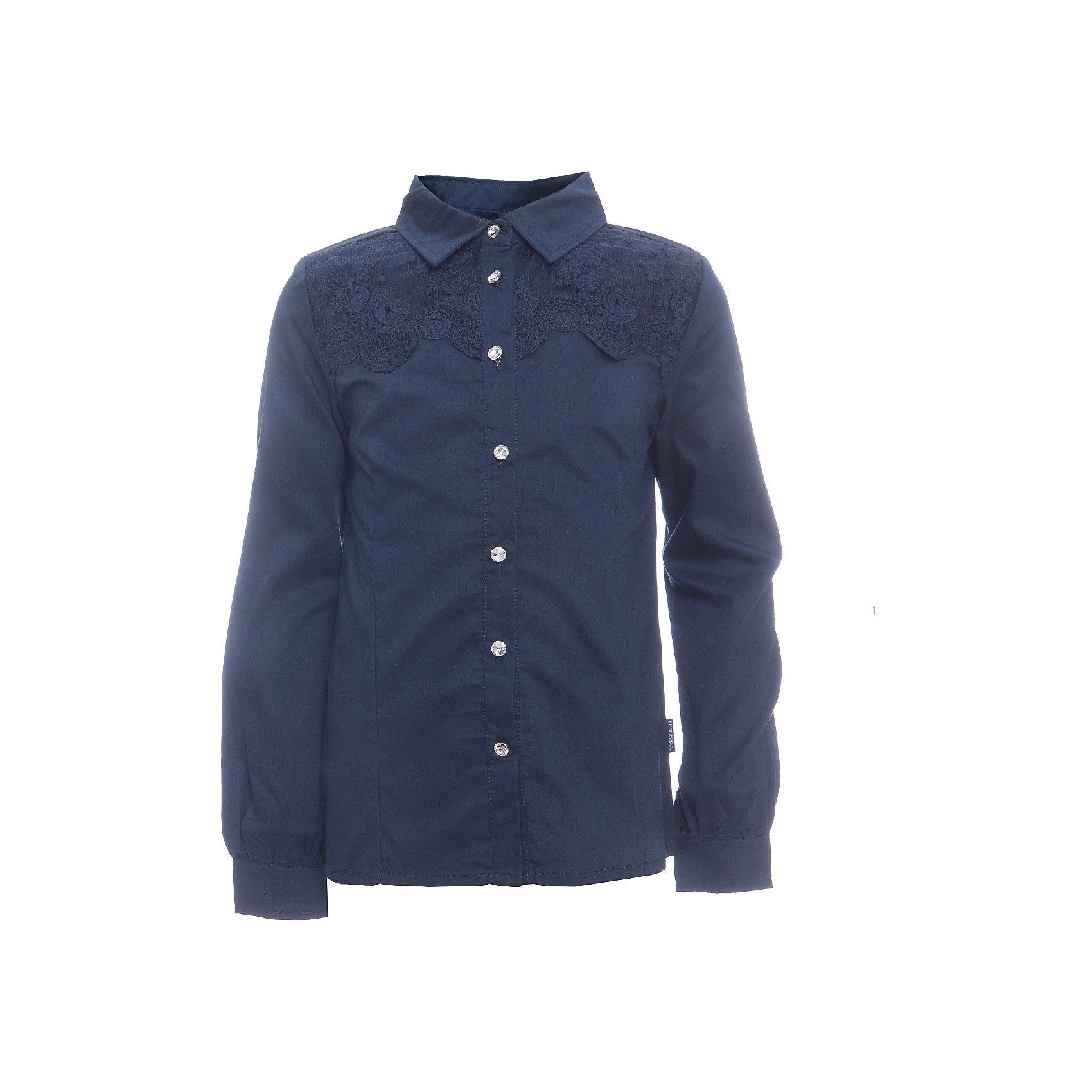 Блузка для девочки LuminosoБлузки и рубашки<br>Характеристики товара:<br><br>• цвет: темно-синий;<br>• состав: 65% хлопок, 32% полиэстер, 3% эластан;<br>• сезон: демисезон;<br>• особенности: школьная, с кружевом;<br>• застежка: пуговицы;<br>• с длинным рукавом;<br>• декорирована кружевом и брошью;<br>• манжеты рукавов на пуговице;<br>• страна бренда: Россия;<br>• страна производства: Китай.<br><br>Школьная блузка с длинным рукавом для девочки. Темно-синяя блузка приталенного кроя. Декорирована кружевом синего цвета и брошью. Застегивается на пуговки, манжеты рукавов на одной пуговице. <br><br>Блузка для девочки Luminoso (Люминосо) можно купить в нашем интернет-магазине.<br><br>Ширина мм: 186<br>Глубина мм: 87<br>Высота мм: 198<br>Вес г: 197<br>Цвет: синий<br>Возраст от месяцев: 108<br>Возраст до месяцев: 120<br>Пол: Женский<br>Возраст: Детский<br>Размер: 140,134,146,152,158,164,122,128<br>SKU: 6672083