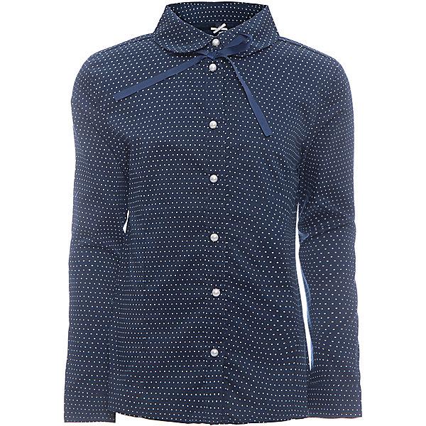 Блузка для девочки LuminosoБлузки и рубашки<br>Характеристики товара:<br><br>• цвет: темно-синий;<br>• состав: 65% хлопок, 32% полиэстер, 3% эластан;<br>• сезон: демисезон;<br>• особенности: школьная, в горох;<br>• застежка: пуговицы;<br>• с длинным рукавом;<br>• декорирована изящными пуговками;<br>• манжеты рукавов на пуговице;<br>• страна бренда: Россия;<br>• страна производства: Китай.<br><br>Школьная блузка с длинным рукавом для девочки. Темно-синяя блузка в горох, приталенного кроя. Застегивается на пуговки, манжеты рукавов на одной пуговице. <br><br>Блузка для девочки Luminoso (Люминосо) можно купить в нашем интернет-магазине.<br><br>Ширина мм: 186<br>Глубина мм: 87<br>Высота мм: 198<br>Вес г: 197<br>Цвет: синий<br>Возраст от месяцев: 72<br>Возраст до месяцев: 84<br>Пол: Женский<br>Возраст: Детский<br>Размер: 122,164,128,134,140,146,152,158<br>SKU: 6672092