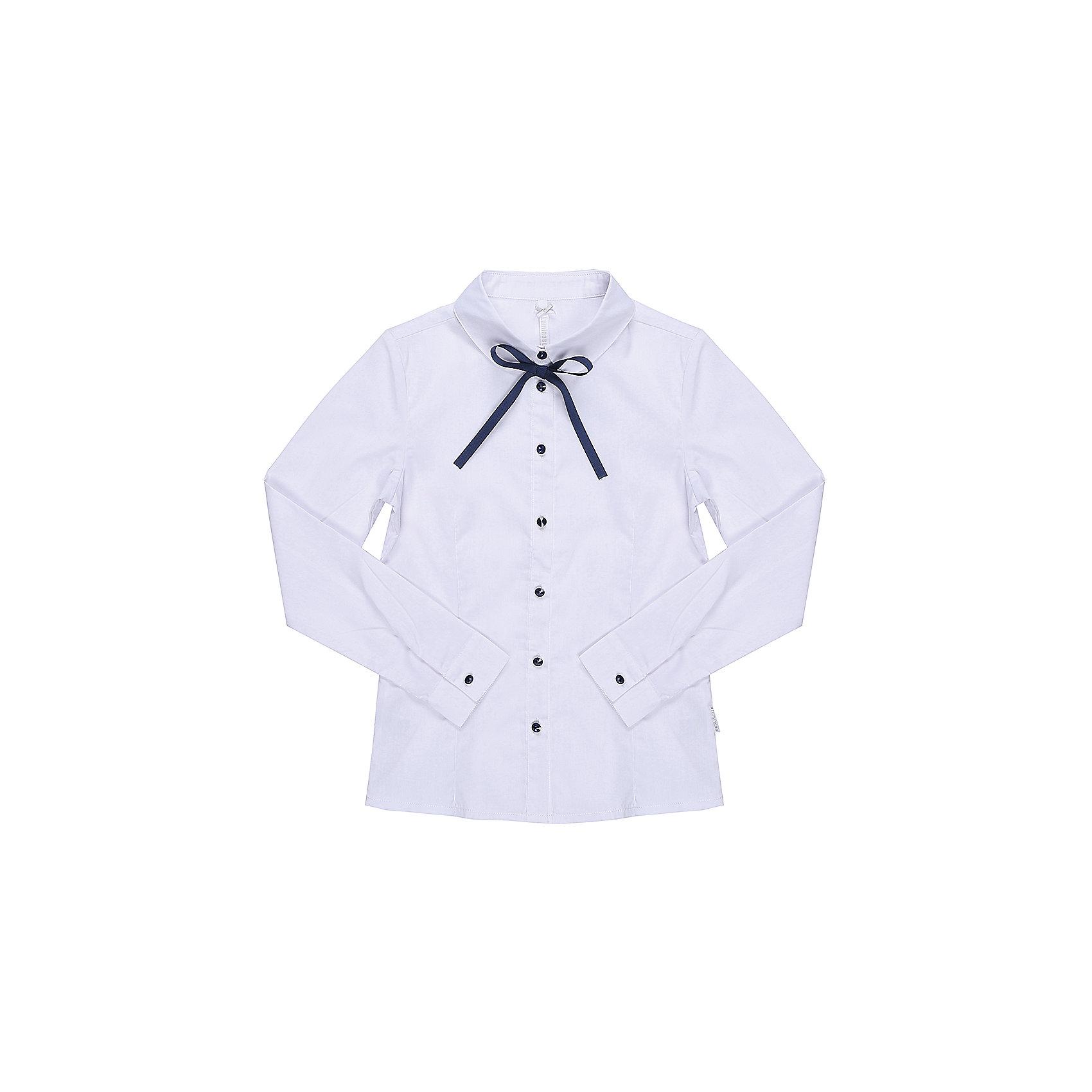 Блузка для девочки LuminosoБлузки и рубашки<br>Характеристики товара:<br><br>• цвет: белый;<br>• состав: 65% хлопок, 32% полиэстер, 3% эластан;<br>• сезон: демисезон;<br>• особенности: школьная, с бантиком;<br>• застежка: пуговицы;<br>• с длинным рукавом;<br>• декорирована бантиком;<br>• манжеты рукавов на пуговице;<br>• страна бренда: Россия;<br>• страна производства: Китай.<br><br>Школьная блузка с длинным рукавом для девочки. Белая блузка приталенного кроя. Застегивается на пуговки, манжеты рукавов на одной пуговице. Декорирована бантиком и пуговками контрастного синего цвета.<br><br>Блузка для девочки Luminoso (Люминосо) можно купить в нашем интернет-магазине.<br><br>Ширина мм: 186<br>Глубина мм: 87<br>Высота мм: 198<br>Вес г: 197<br>Цвет: белый<br>Возраст от месяцев: 156<br>Возраст до месяцев: 168<br>Пол: Женский<br>Возраст: Детский<br>Размер: 164,122,128,134,140,146,152,158<br>SKU: 6672101