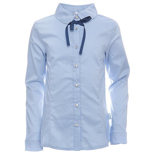 Блузка для девочки LuminosoБлузки и рубашки<br>Характеристики товара:<br><br>• цвет: белый;<br>• состав: 65% хлопок, 32% полиэстер, 3% эластан;<br>• сезон: демисезон;<br>• особенности: школьная, с бантиком;<br>• застежка: пуговицы;<br>• с длинным рукавом;<br>• декорирована бантиком;<br>• манжеты рукавов на пуговице;<br>• страна бренда: Россия;<br>• страна производства: Китай.<br><br>Школьная блузка с длинным рукавом для девочки. Белая блузка приталенного кроя. Застегивается на пуговки, манжеты рукавов на одной пуговице. Декорирована бантиком контрастного синего цвета и блестящими пуговками.<br><br>Блузка для девочки Luminoso (Люминосо) можно купить в нашем интернет-магазине.<br>Ширина мм: 186; Глубина мм: 87; Высота мм: 198; Вес г: 197; Цвет: голубой; Возраст от месяцев: 156; Возраст до месяцев: 168; Пол: Женский; Возраст: Детский; Размер: 164,122,158,152,146,140,134,128; SKU: 6672110;