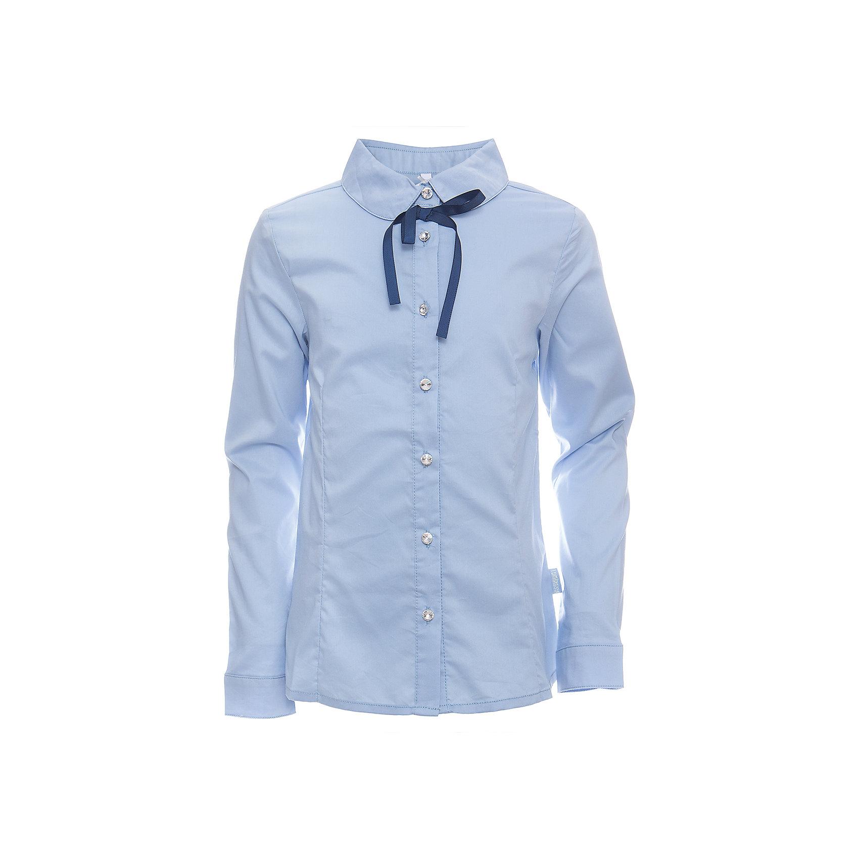 Блузка для девочки LuminosoБлузки и рубашки<br>Классическая голубая текстильная блузка для девочки из хлопка приталенного кроя. Декорированная контрастным бантиком и пуговками.<br>Состав:<br>65% хлопок, 32% полиэстер,3% эластан<br><br>Ширина мм: 186<br>Глубина мм: 87<br>Высота мм: 198<br>Вес г: 197<br>Цвет: голубой<br>Возраст от месяцев: 156<br>Возраст до месяцев: 168<br>Пол: Женский<br>Возраст: Детский<br>Размер: 164,122,128,134,140,146,152,158<br>SKU: 6672110
