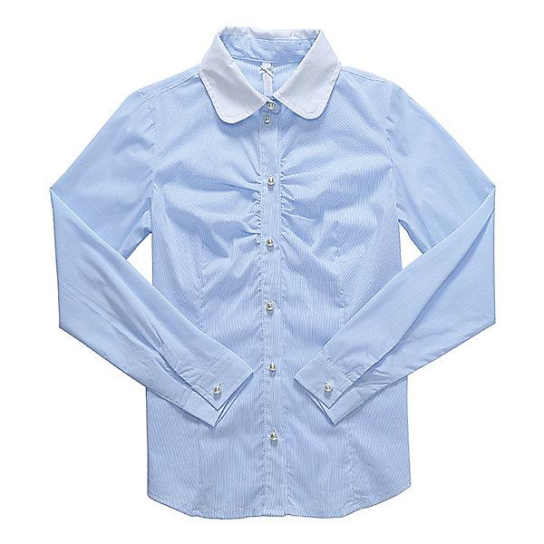 Блузка для девочки LuminosoБлузки и рубашки<br>Характеристики товара:<br><br>• цвет: голубой<br>• состав ткани: 69% хлопок, 28% нейлон, 3% эластан<br>• с длинным рукавом<br>• застежка: пуговицы<br>• манжеты на пуговице<br>• особенности: школьная, в мелкую полоску<br>• страна бренда: Россия<br>• страна производства: Китай<br><br>Школьная блузка с длинным рукавом для девочки. Классическая блузка для девочки в микрополоску бело-голубого цвета. Приталенный крой, контрастный отложной воротничок белого цвета. Декоративная, мягкая сборка на планке. Застегивается на пуговки, манжеты рукавов на одной пуговице. Пуговки в виде жемчуга.<br><br>Блузка для девочки Luminoso (Люминосо) можно купить в нашем интернет-магазине.<br>Ширина мм: 186; Глубина мм: 87; Высота мм: 198; Вес г: 197; Цвет: голубой; Возраст от месяцев: 72; Возраст до месяцев: 84; Пол: Женский; Возраст: Детский; Размер: 122,128,164,158,152,146,140,134; SKU: 6672119;